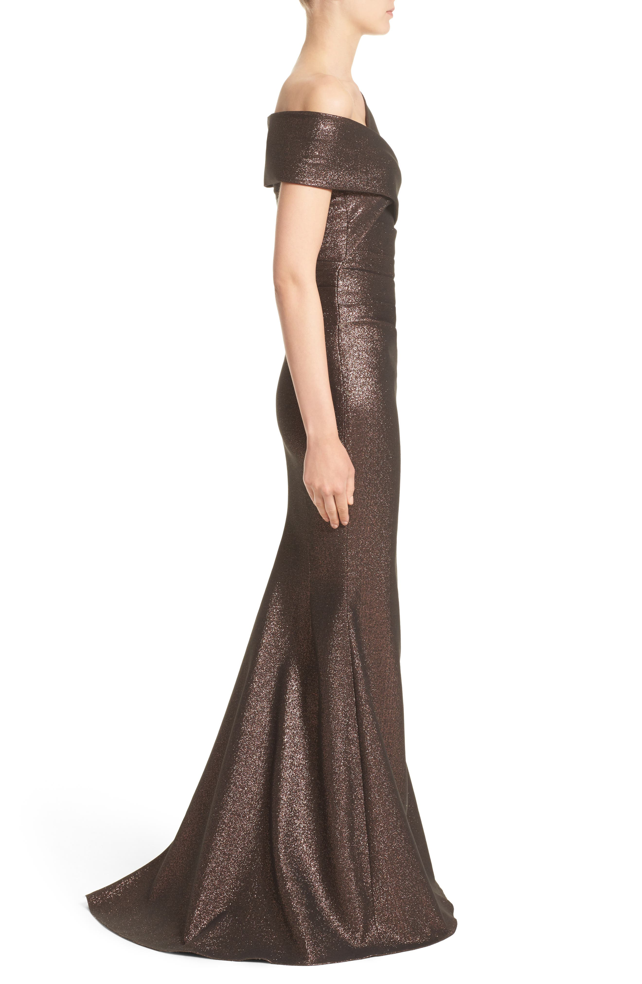 Glitter Knit Asymmetrical Mermaid Gown,                             Alternate thumbnail 3, color,                             Copper