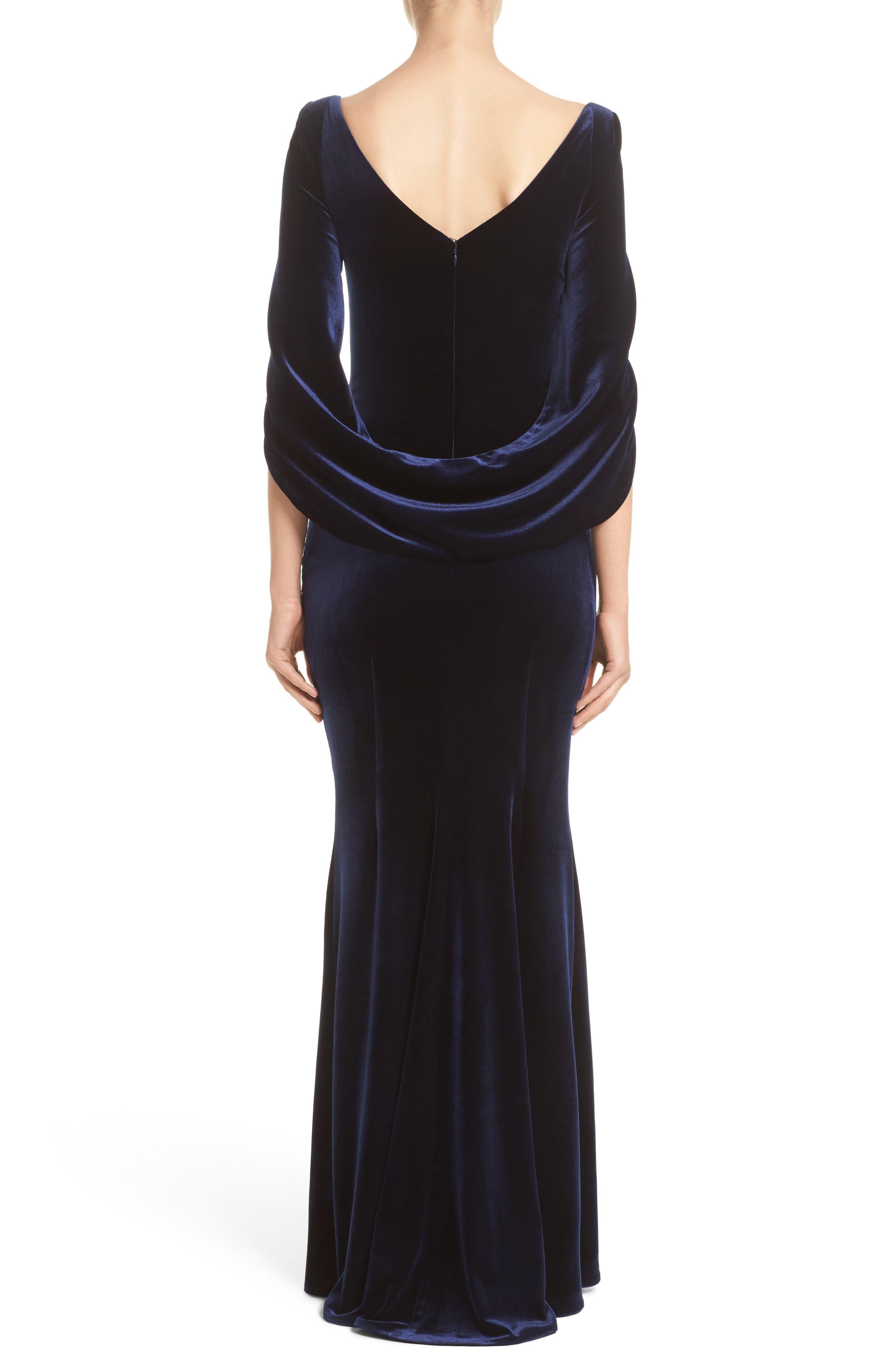 Velvet Column Gown,                             Alternate thumbnail 2, color,                             Moonlight