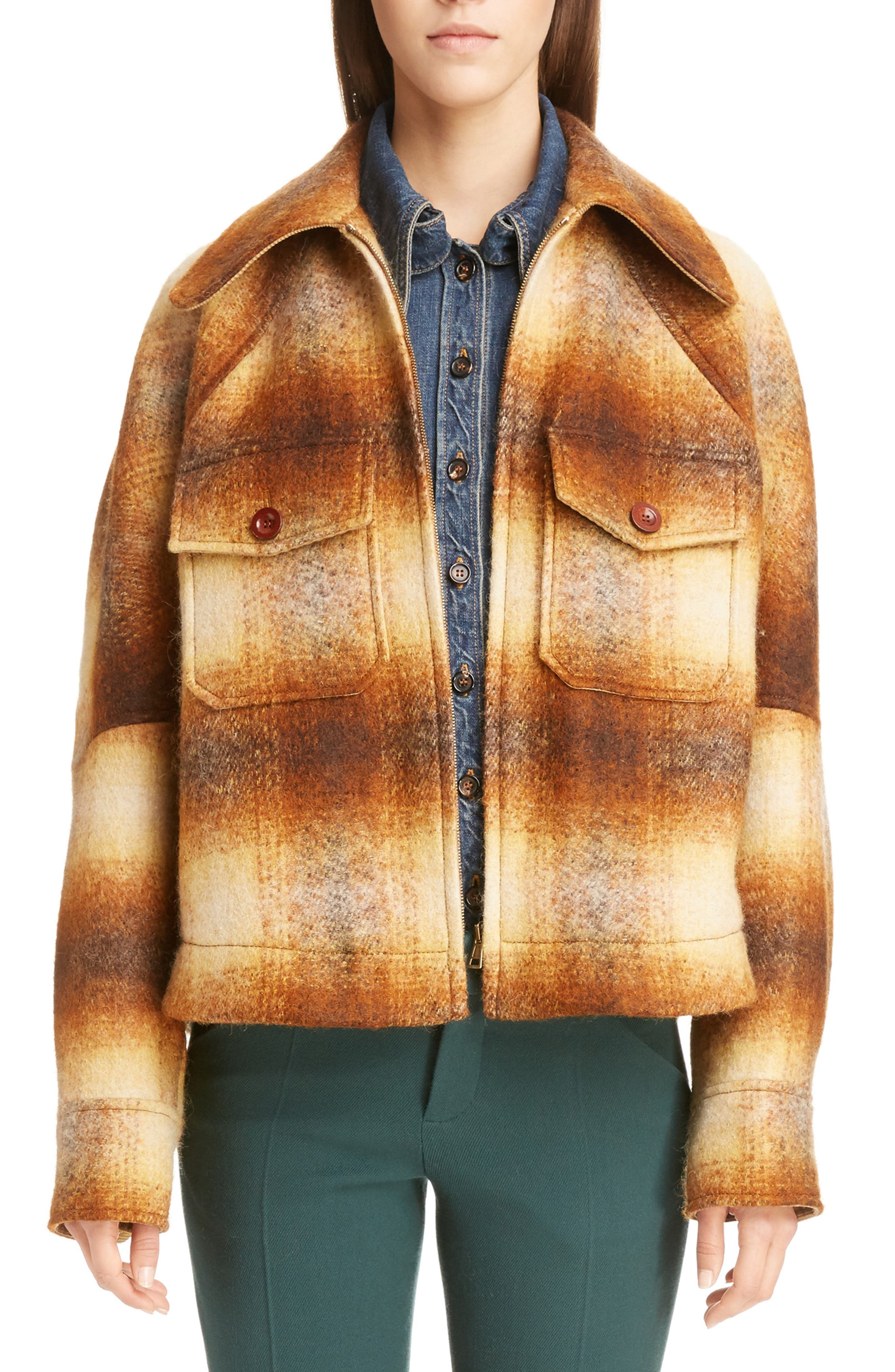 Mohair Blend Check Lumber Jacket,                         Main,                         color, Multicolor Brown
