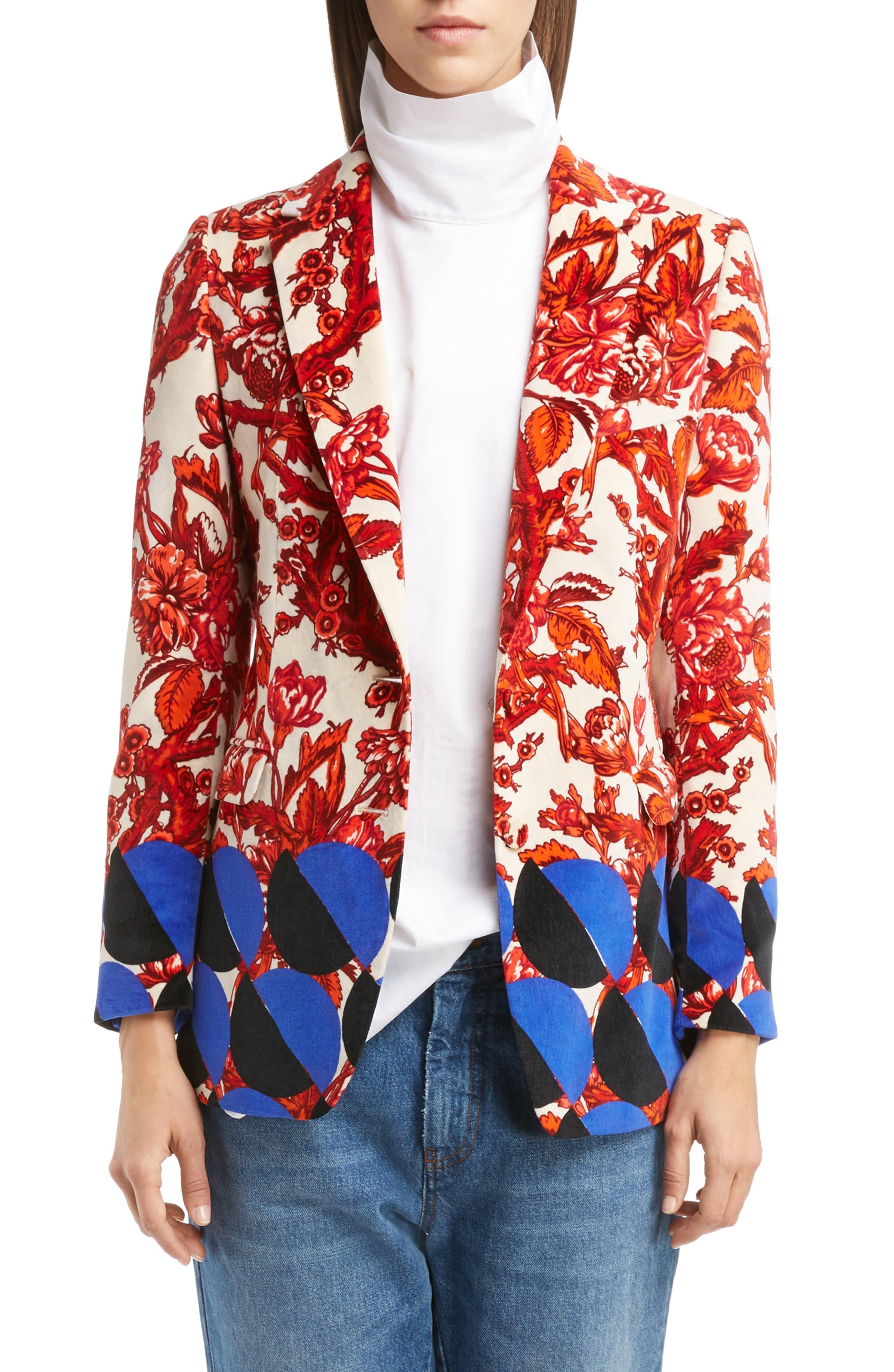 Dries Van Noten Mix Print Velvet Jacket