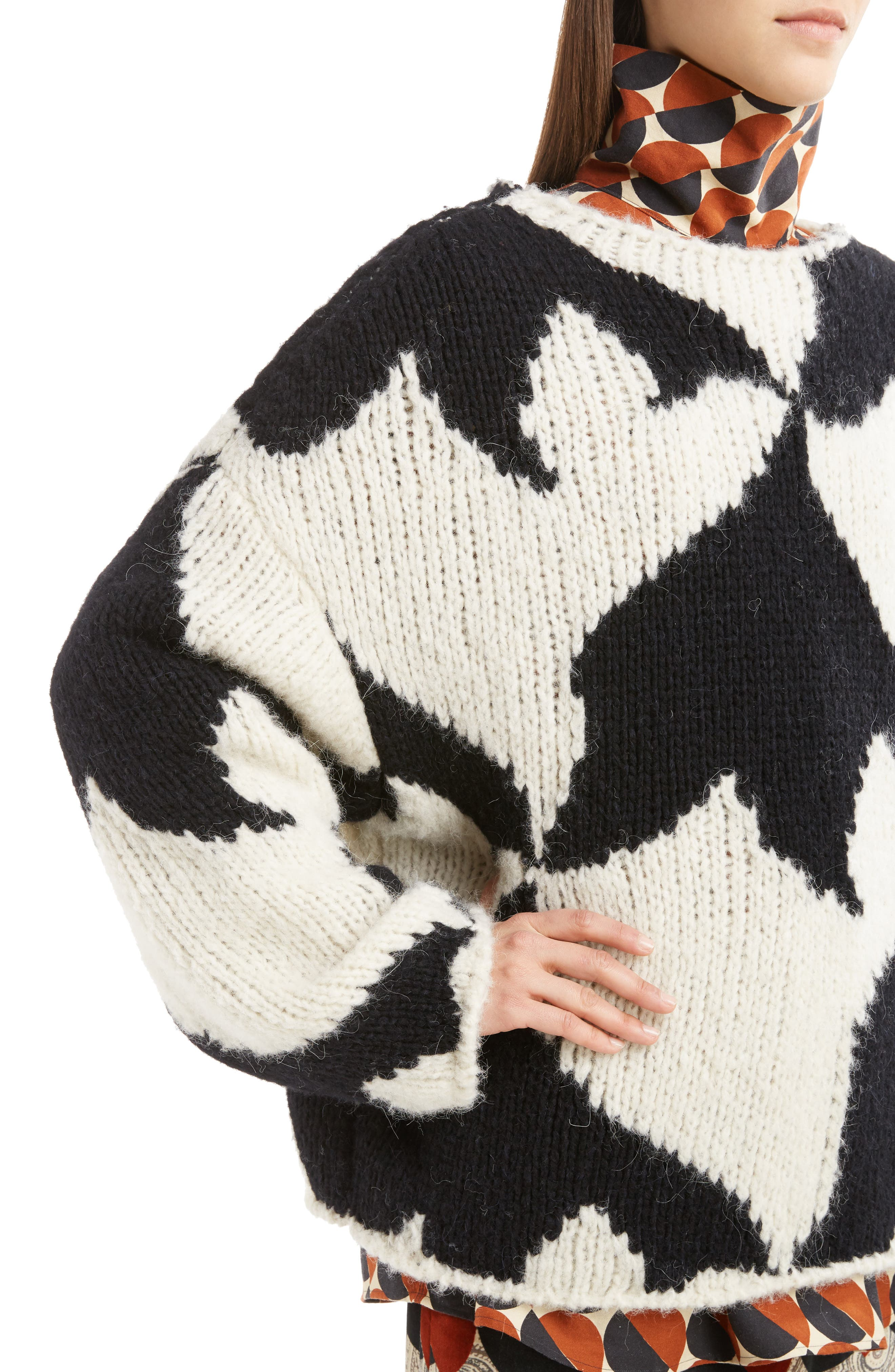 Geo Intarsia Wool Blend Sweater,                             Alternate thumbnail 5, color,                             Ecru