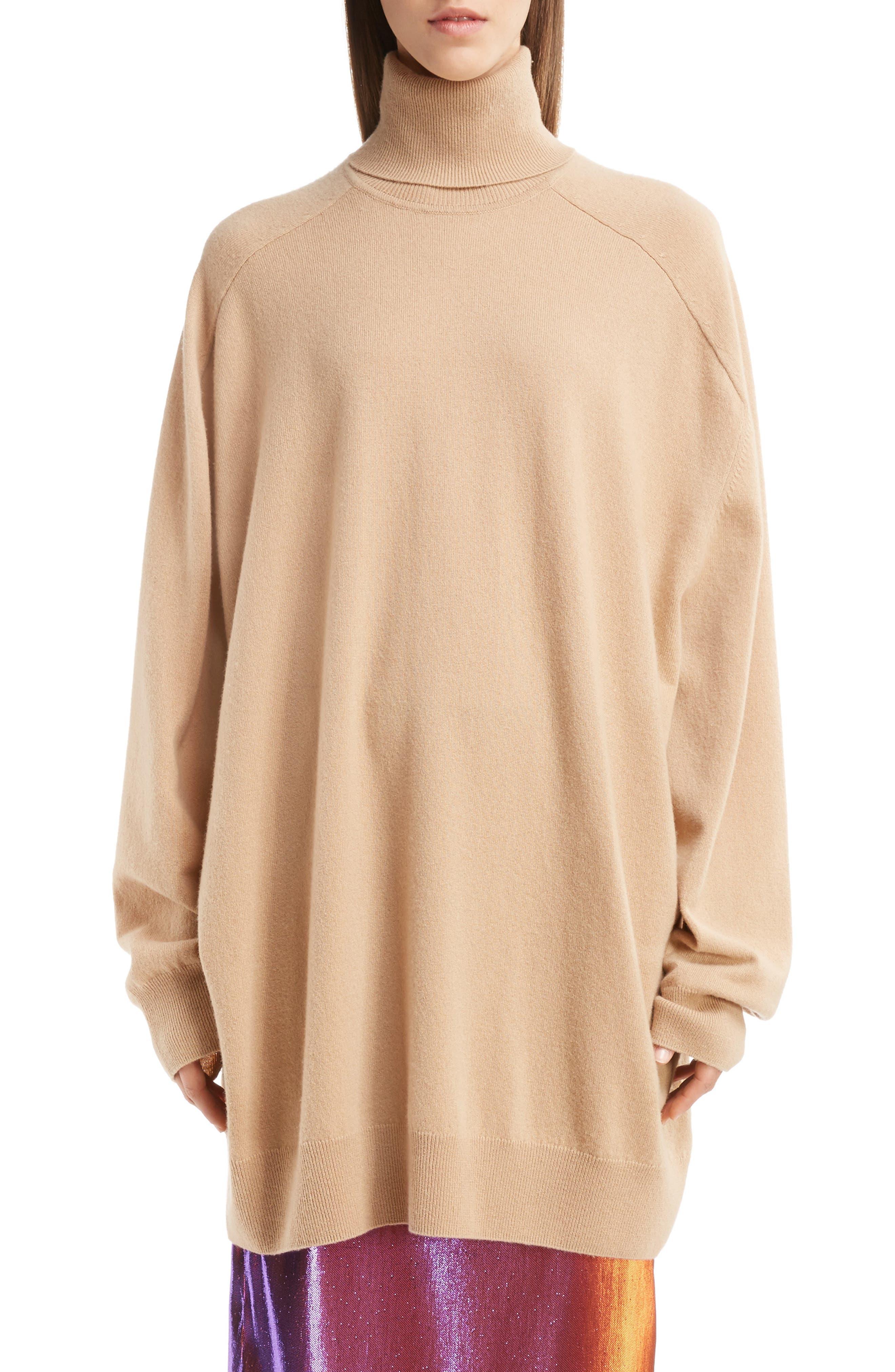 Oversized Cashmere Turtleneck Sweater,                             Main thumbnail 1, color,                             Camel