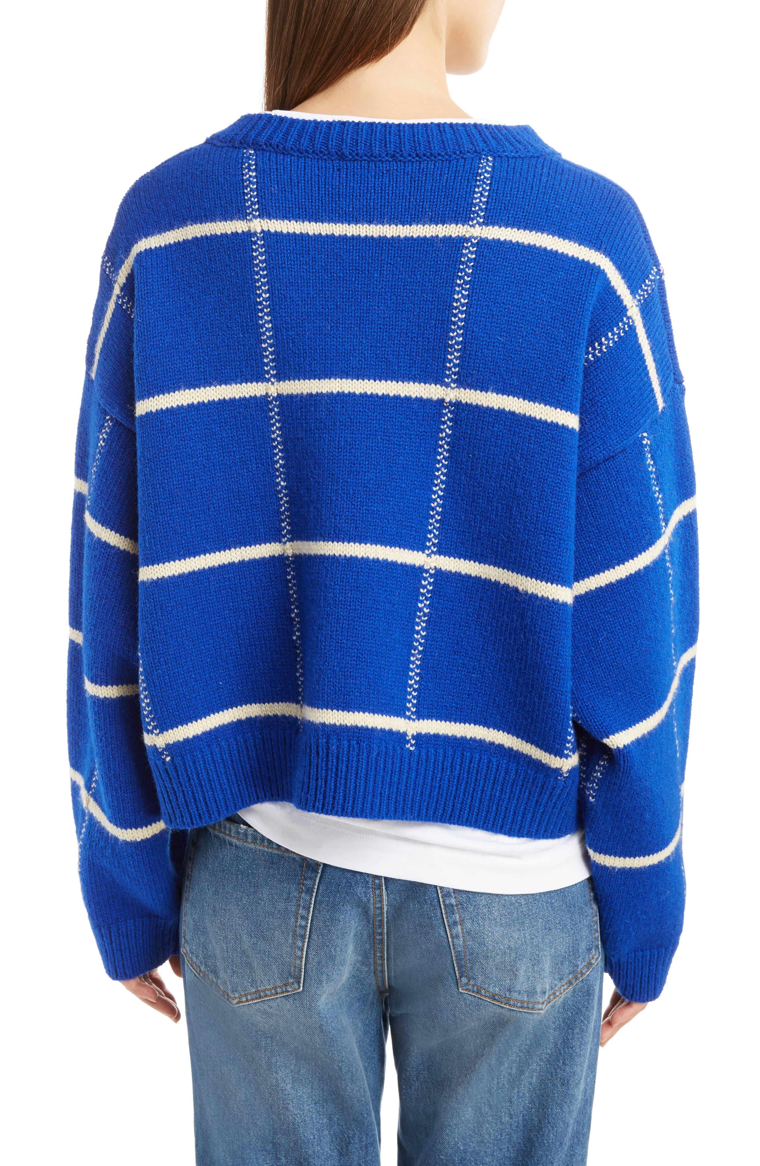 Windowpane Knit Wool Sweater,                             Alternate thumbnail 2, color,                             King Blue