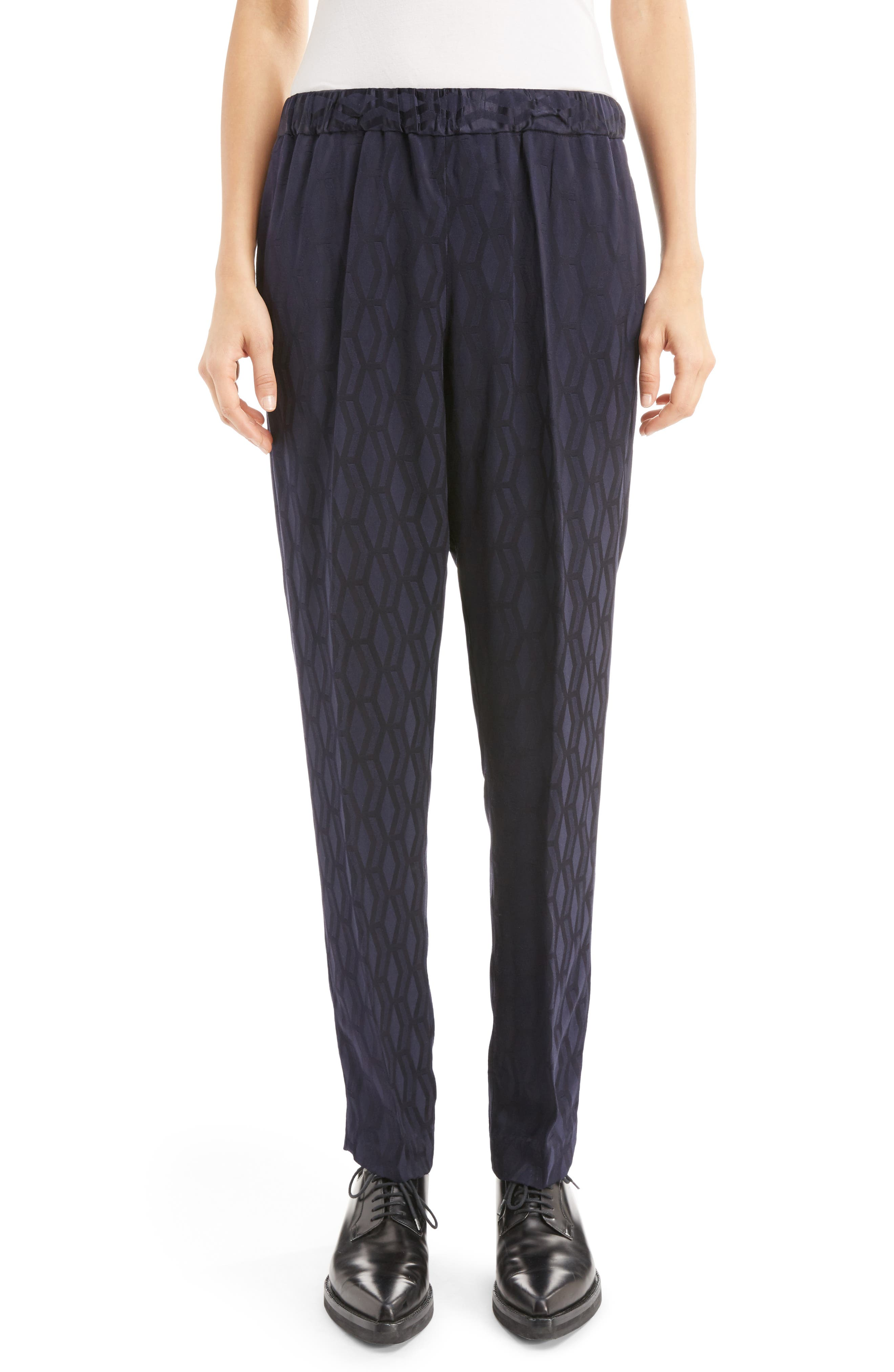 Graphic Jacquard Pants,                         Main,                         color, Navy