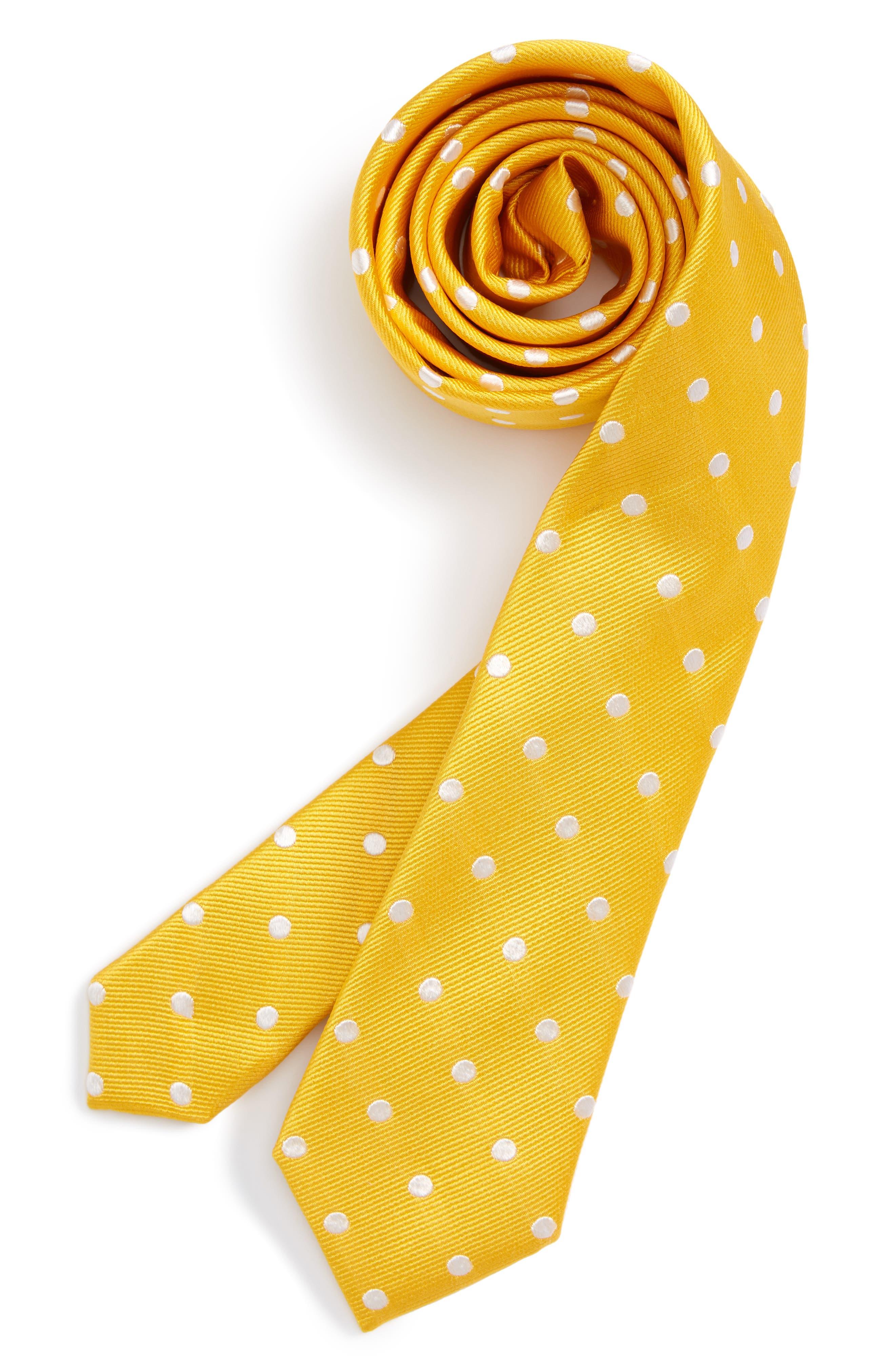 Dot Silk Tie,                         Main,                         color, Yellow Dot