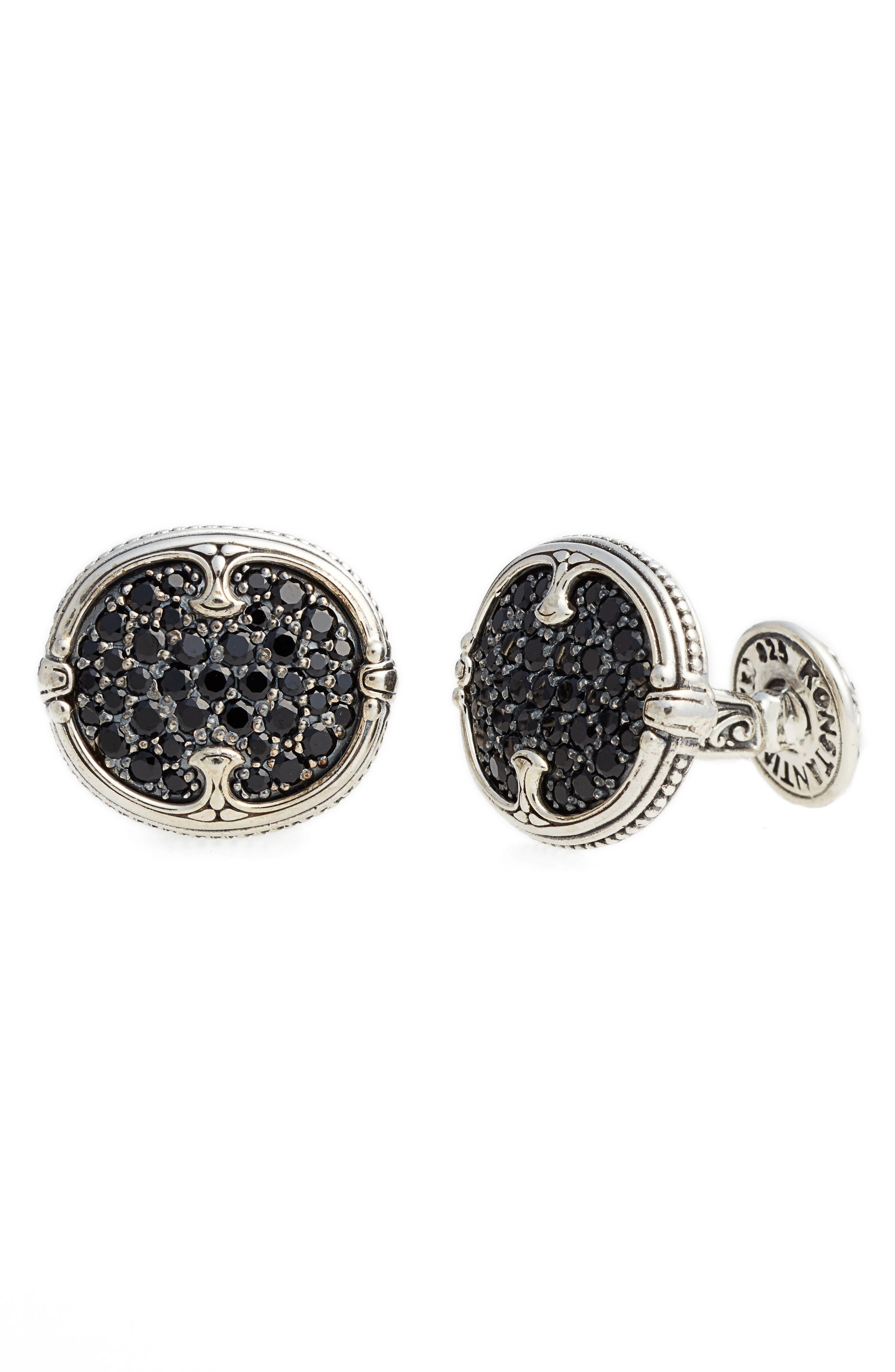 Spinel Oval Cuff Links,                         Main,                         color, Silver/ Black