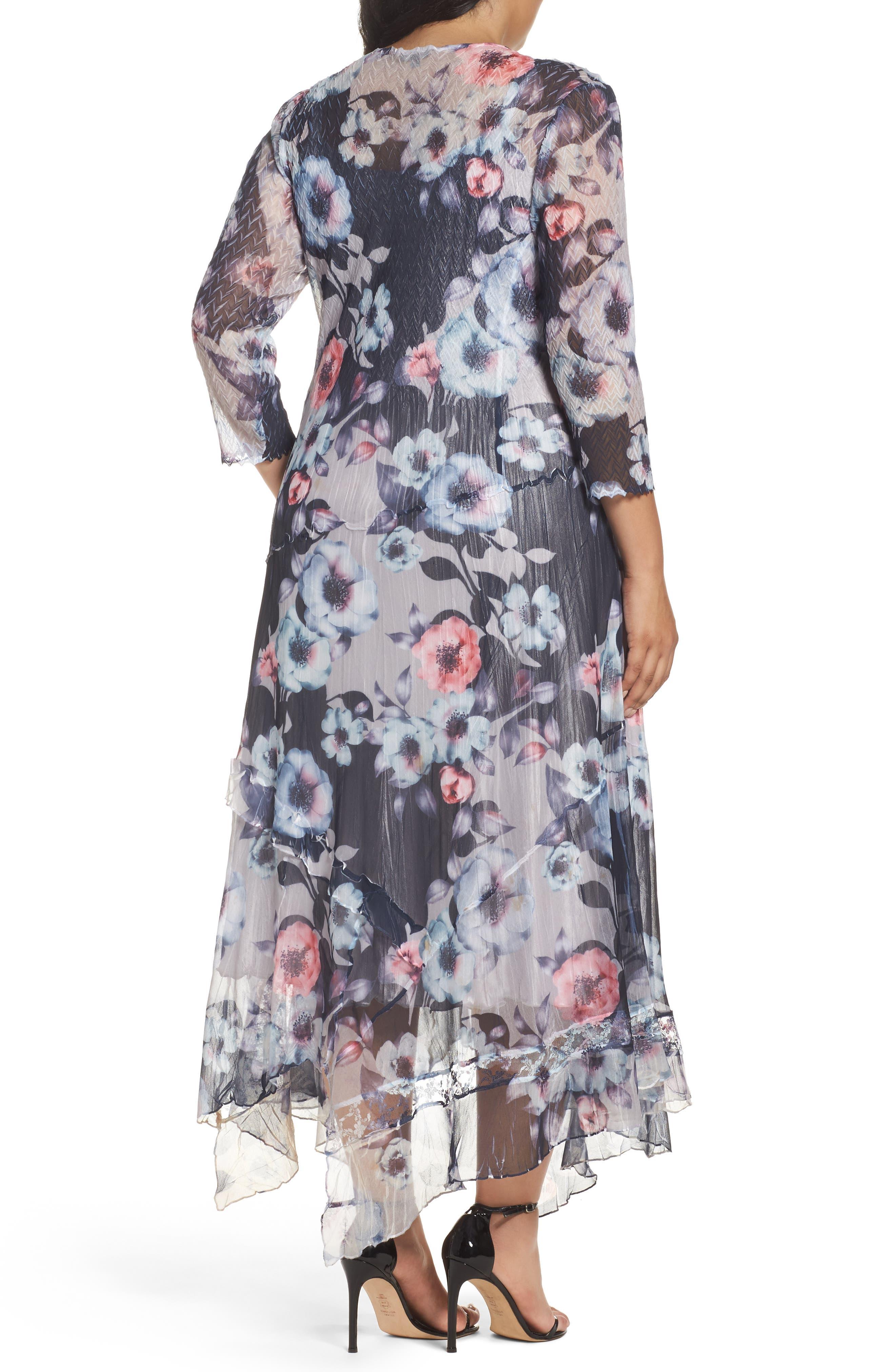 Handkerchief Hem Floral Charmeuse & Chiffon Dress,                             Alternate thumbnail 2, color,                             Celestial Vine