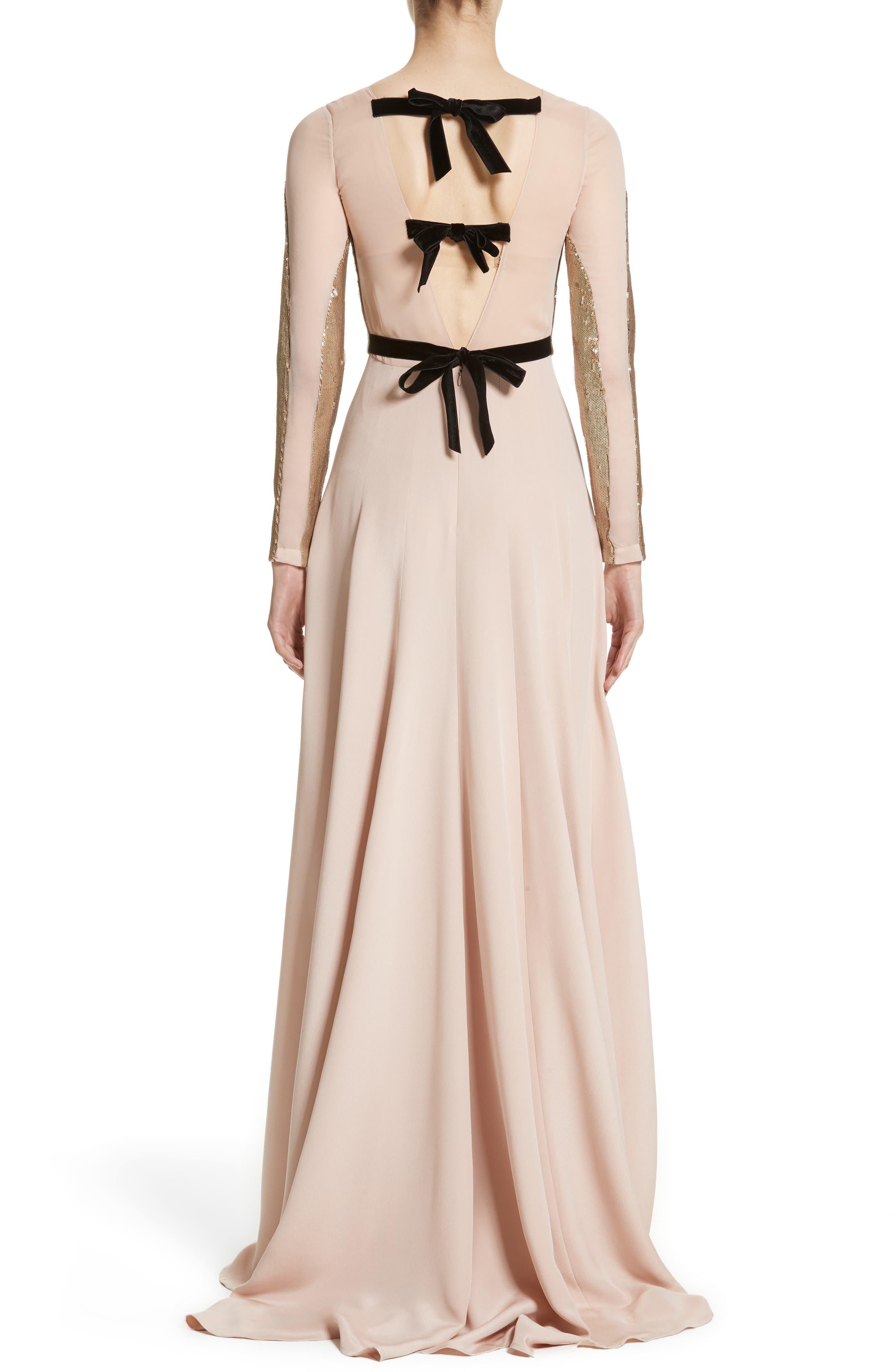 Alternate Image 2  - Carolina Herrera Sequin Front A-Line Silk Gown