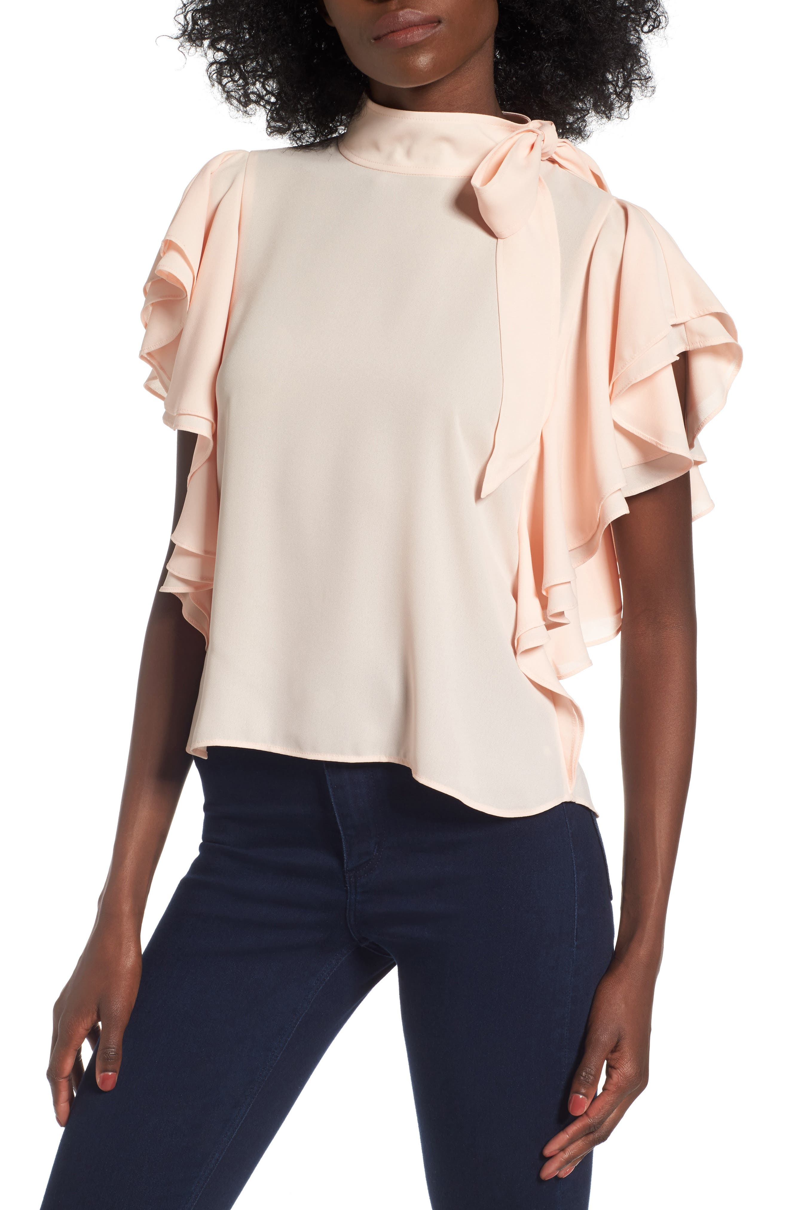 Ruffle Tie Neck Top,                         Main,                         color, Pink Wood