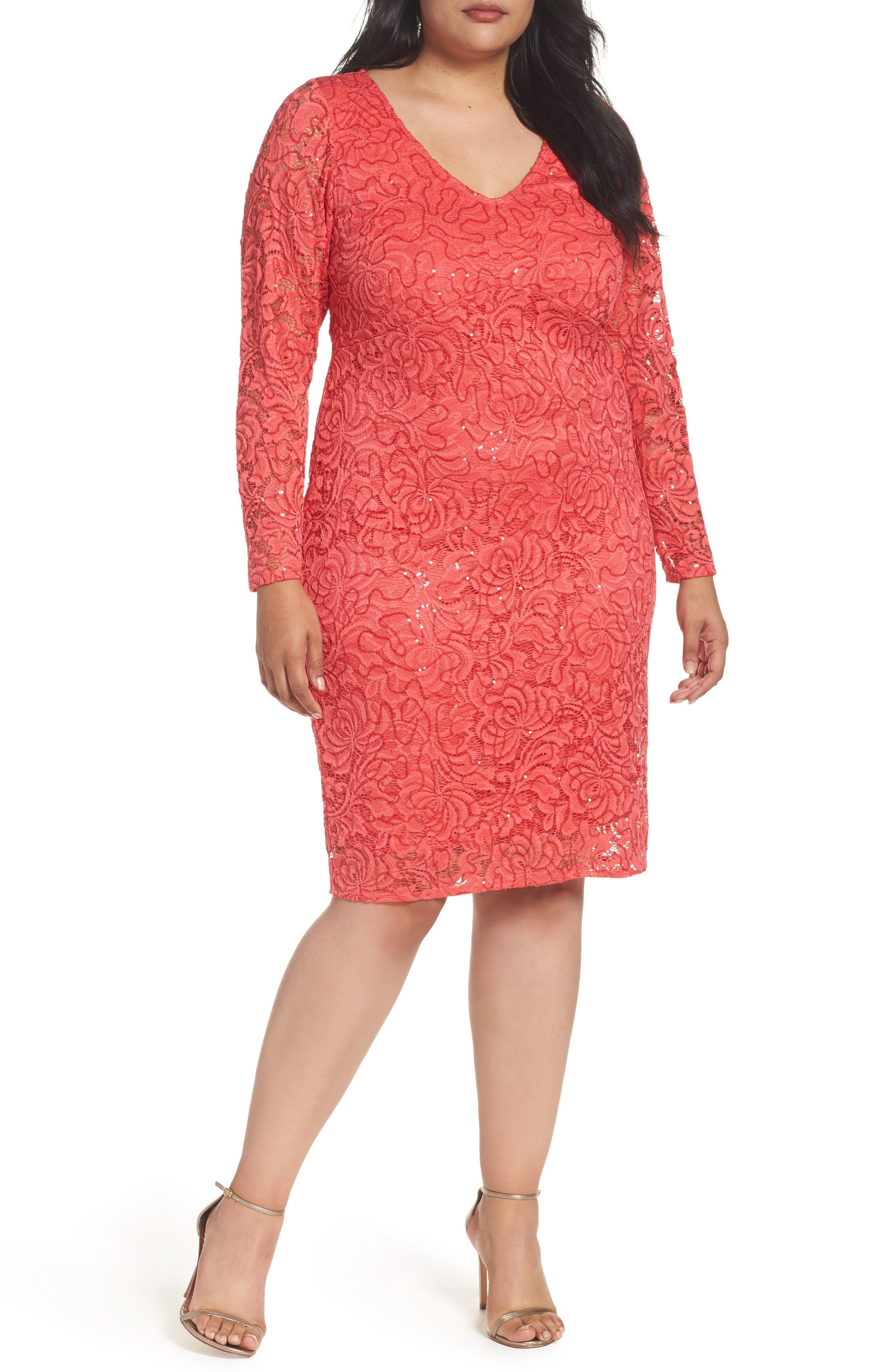 Lace Sheath Dress,                             Main thumbnail 1, color,                             Coral