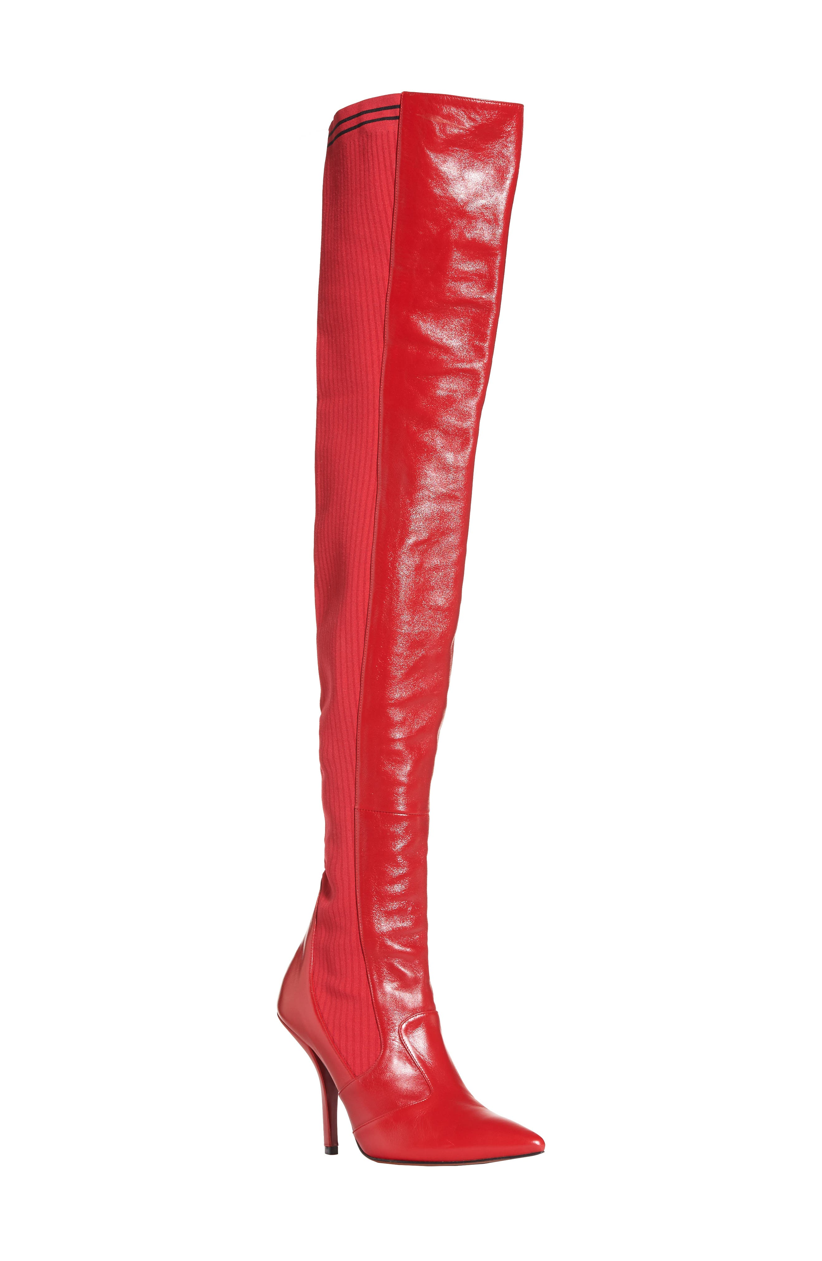 Rockoko Over the Knee Boot,                             Main thumbnail 1, color,                             Cherry Leather