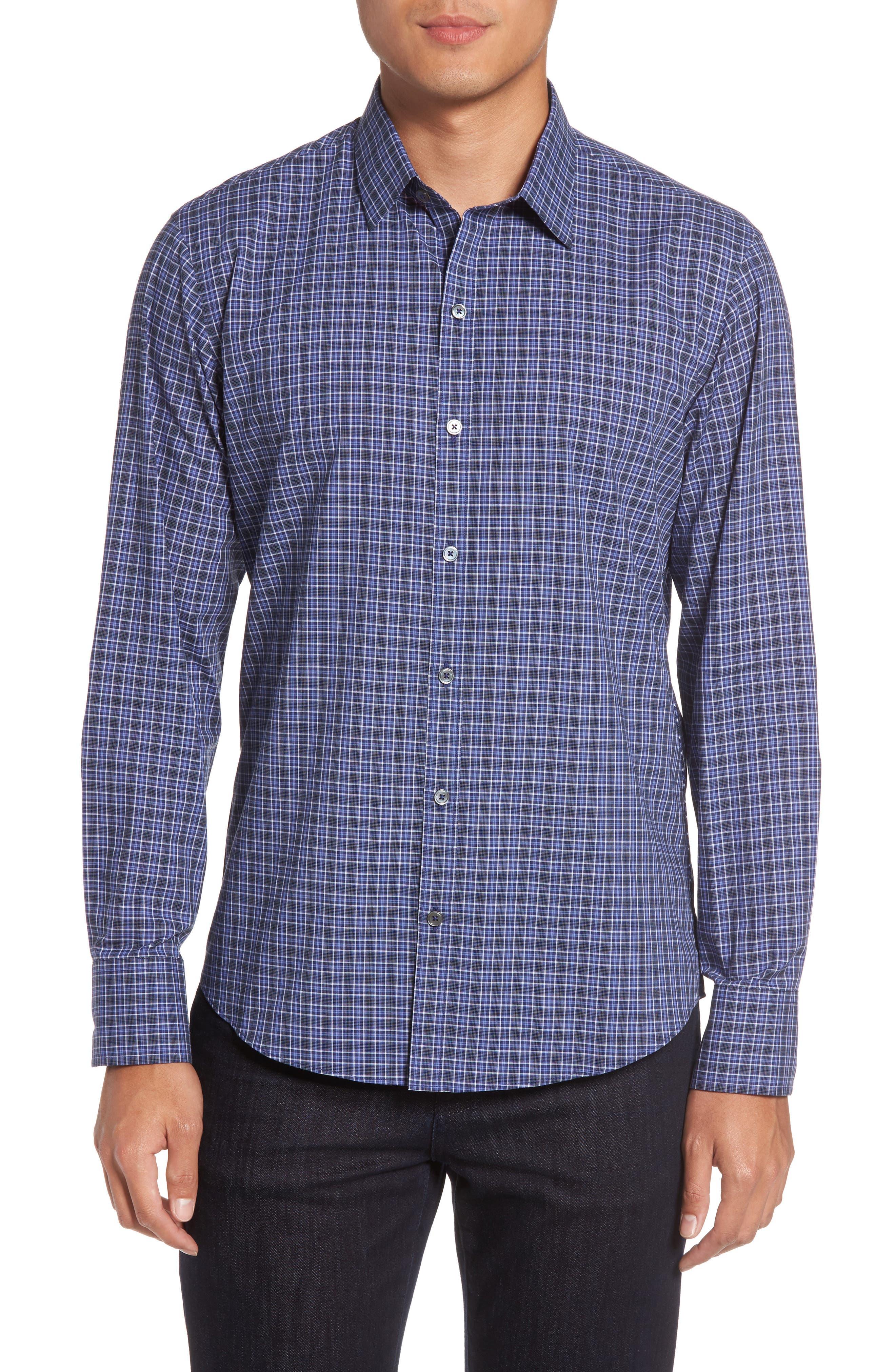 Barnum Slim Fit Check Sport Shirt,                         Main,                         color, Blue