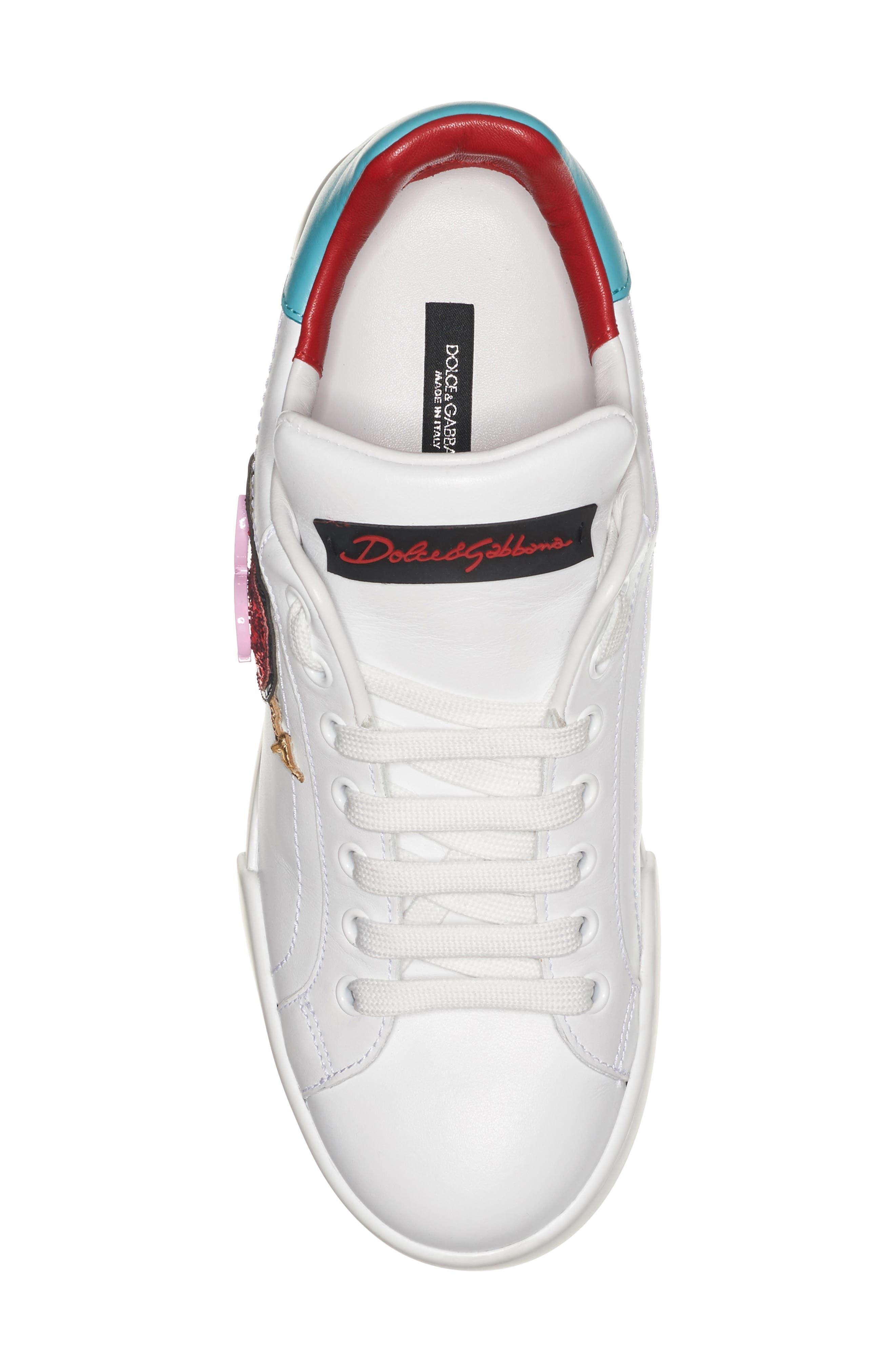 Heart Sneaker,                             Alternate thumbnail 4, color,                             White/ Blue