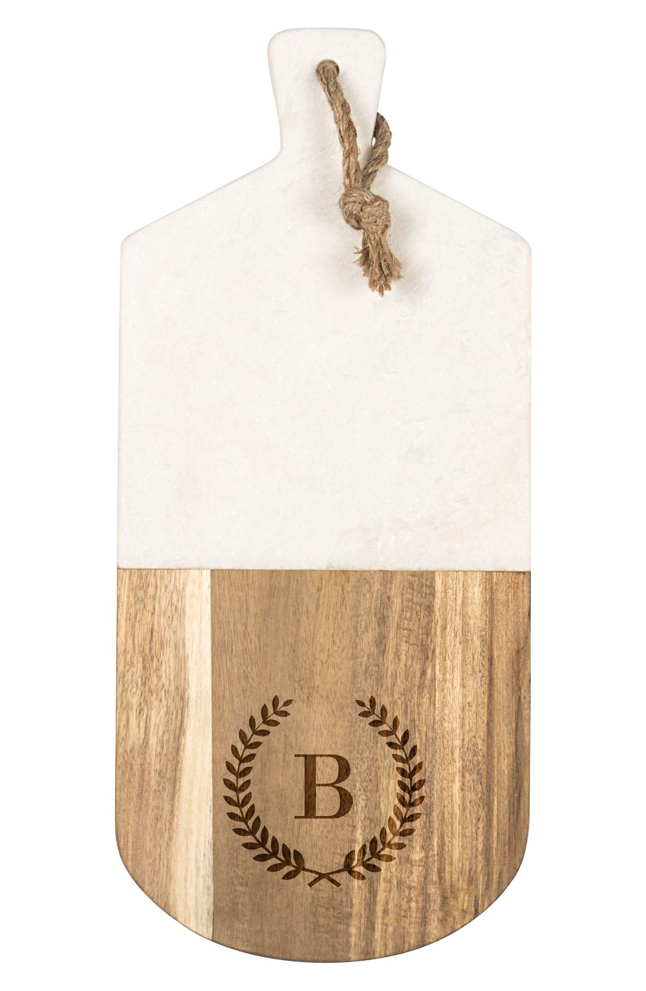 Monogram Marble & Wood Serving Board,                             Alternate thumbnail 2, color,