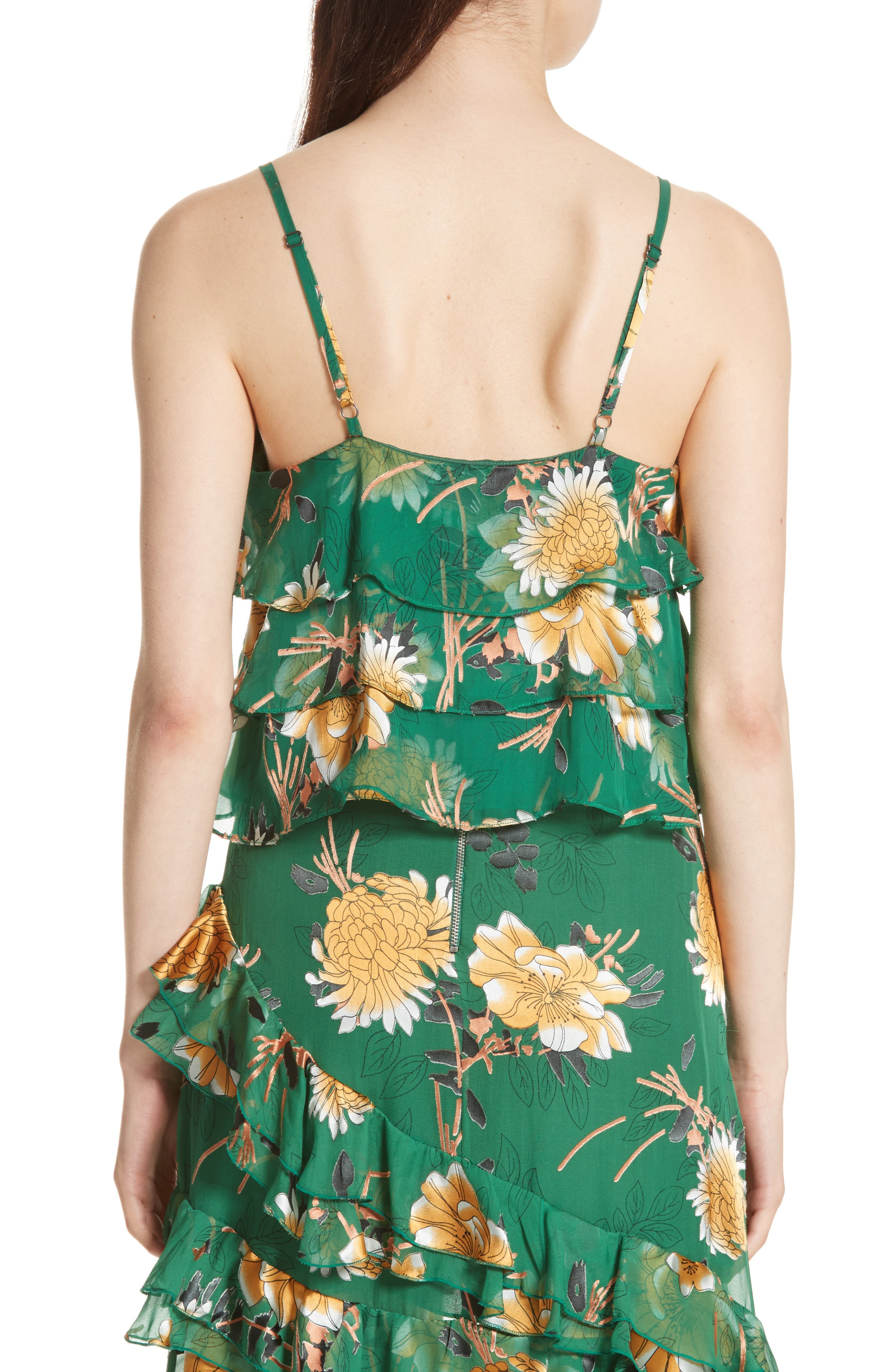 Vanessa Tiered Floral Camisole,                             Alternate thumbnail 2, color,                             Ivy Multi
