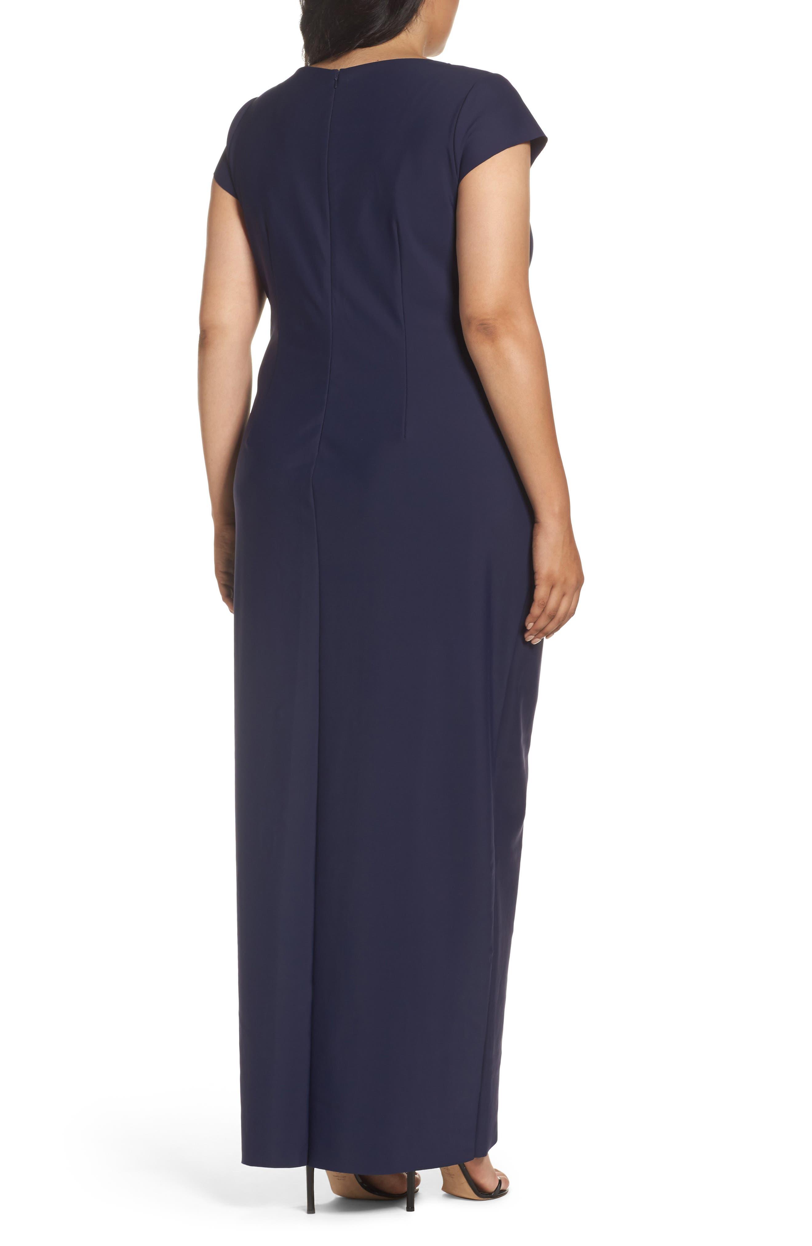 Alternate Image 2  - Alex Evenings Embellished Side Pleat Column Gown (Plus Size)