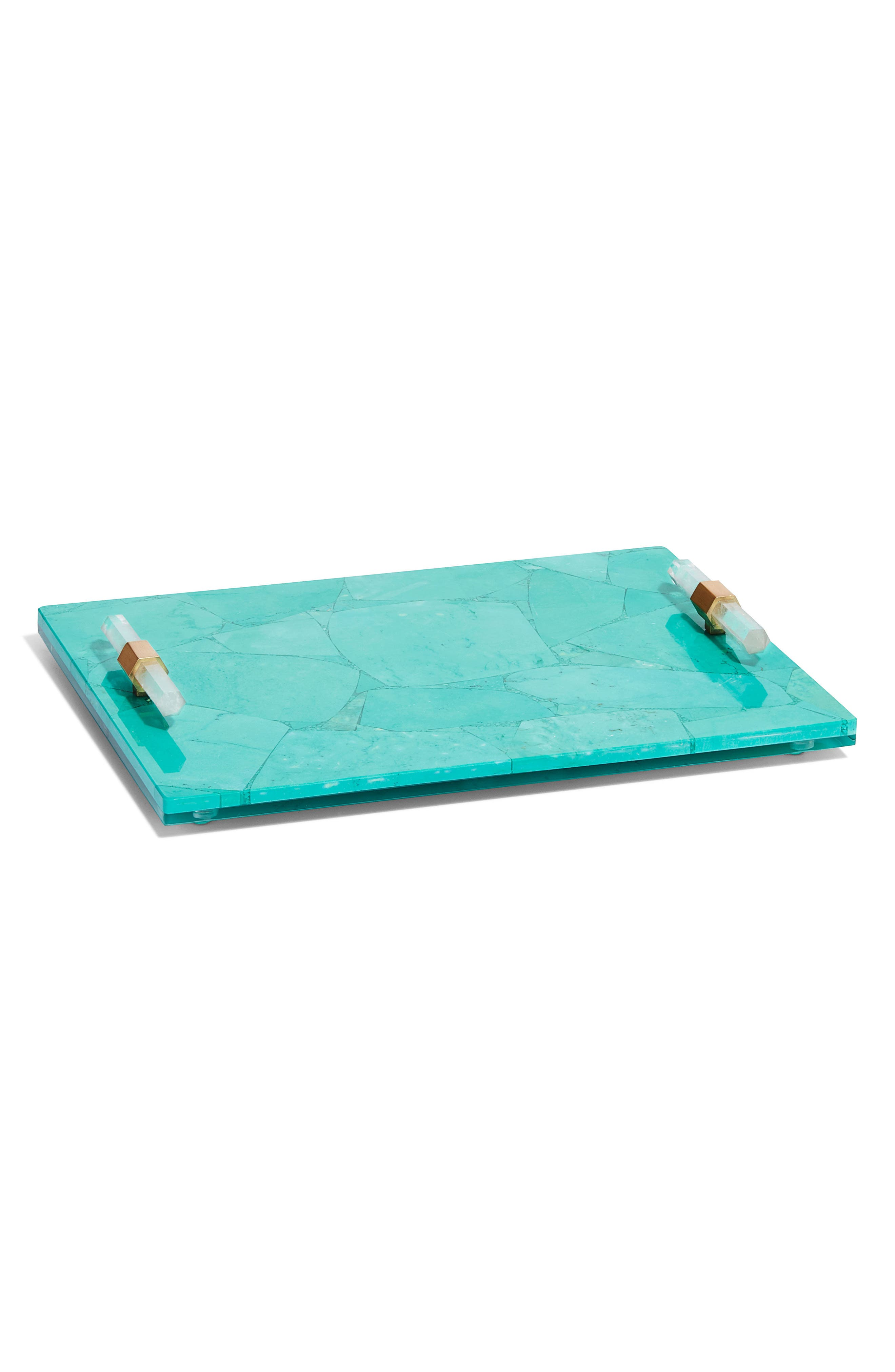 Small Stone Slab Tray,                         Main,                         color, Variegated Teal