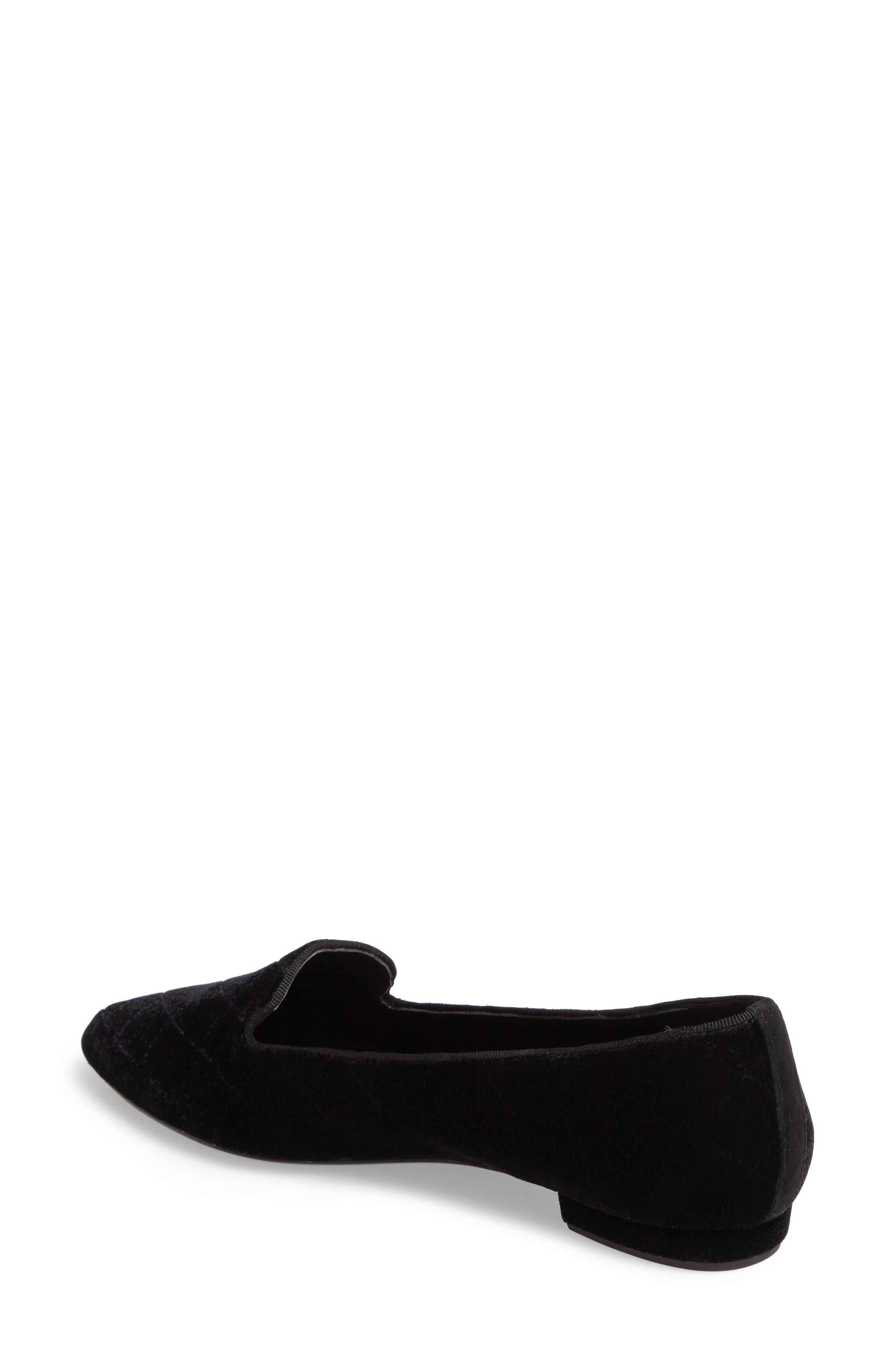 Gannie Diamond Pattern Loafer,                             Alternate thumbnail 2, color,                             Black Velvet Fabric