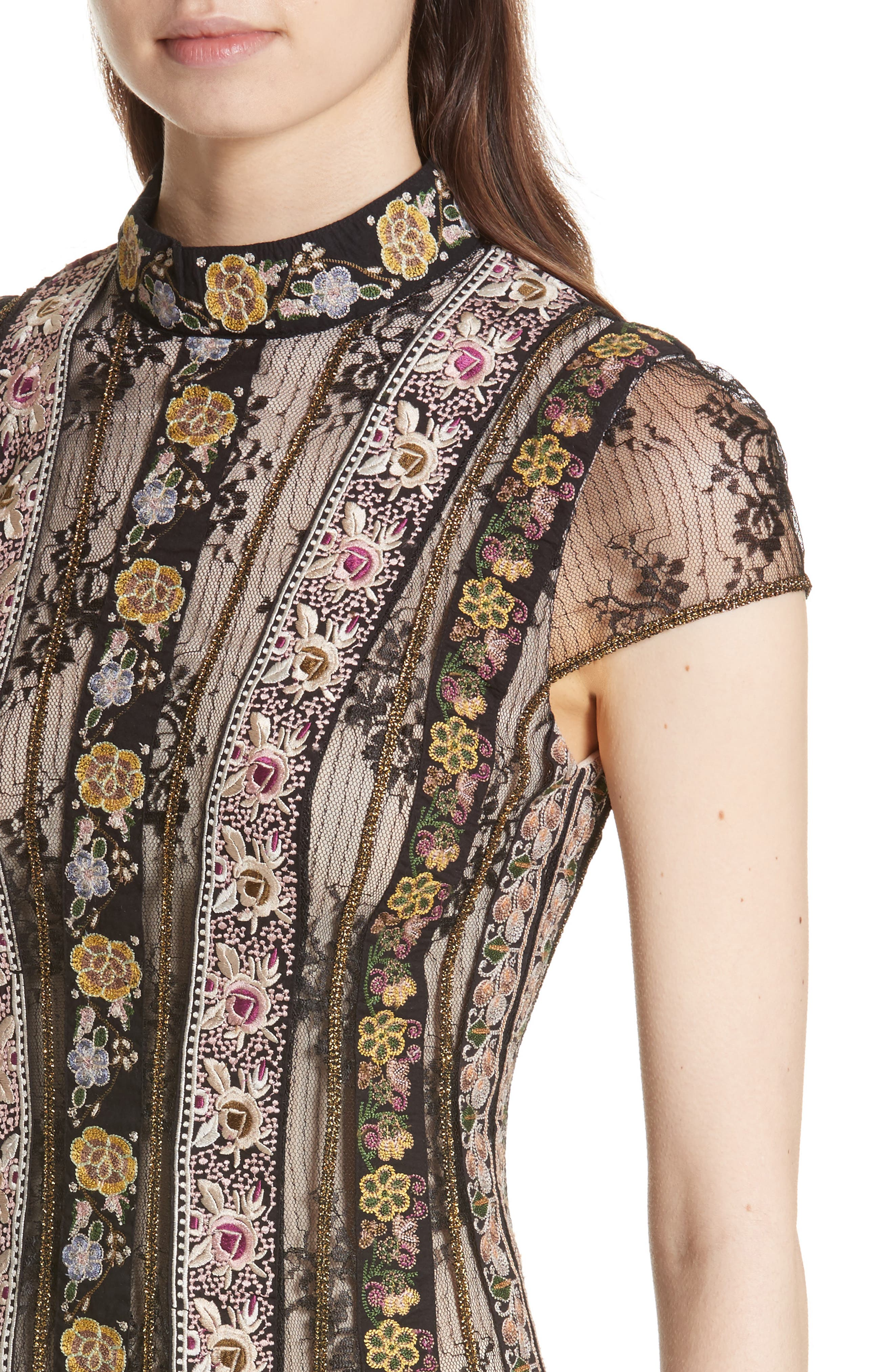Gwyneth Embroidered Floral Dress,                             Alternate thumbnail 4, color,                             Black/ Multi