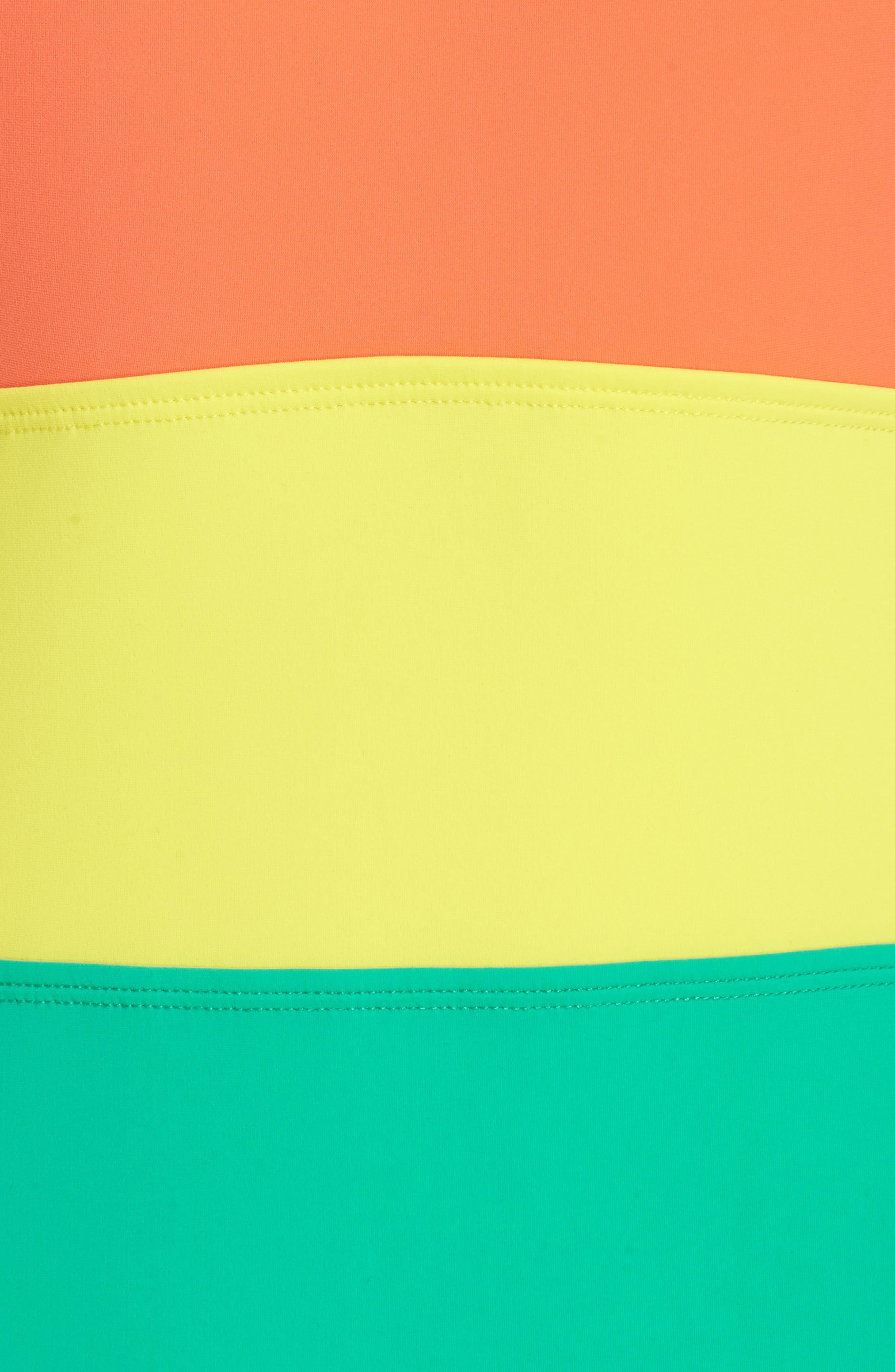 Halter One-Piece Swimsuit,                             Alternate thumbnail 5, color,                             Coral/ Acid