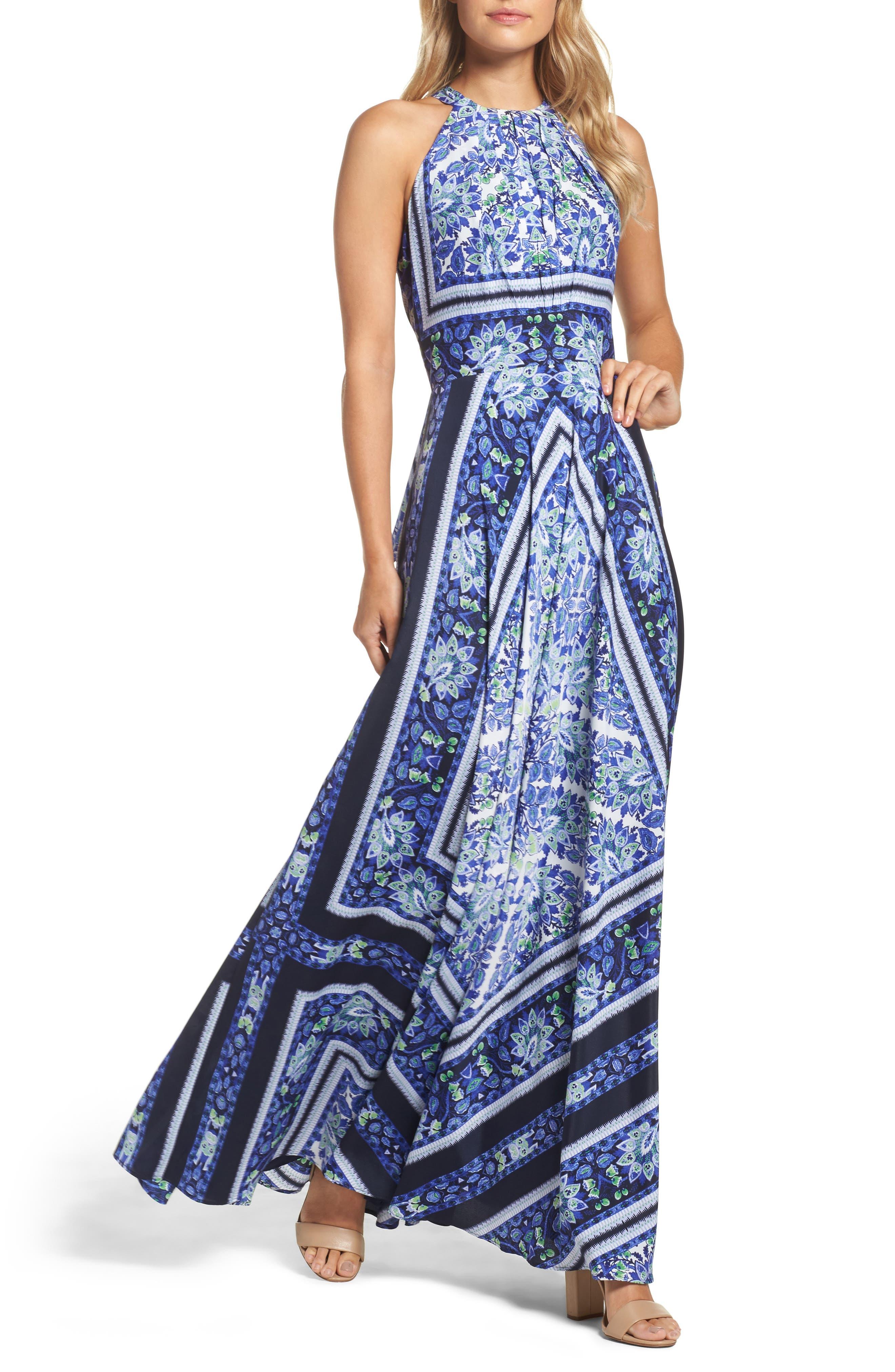 Scarf Print Maxi Dress,                             Main thumbnail 1, color,                             Navy/ Purple
