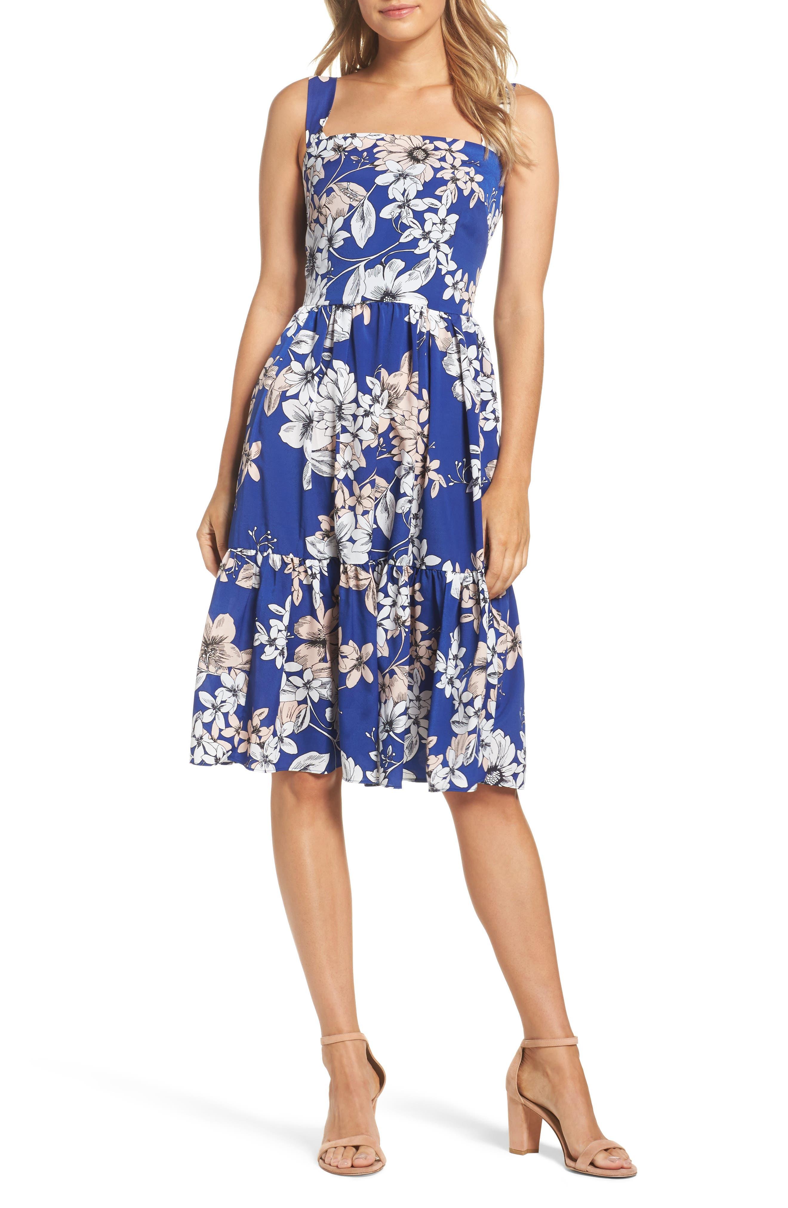 Main Image - Eliza J Floral Print Fit & Flare Dress