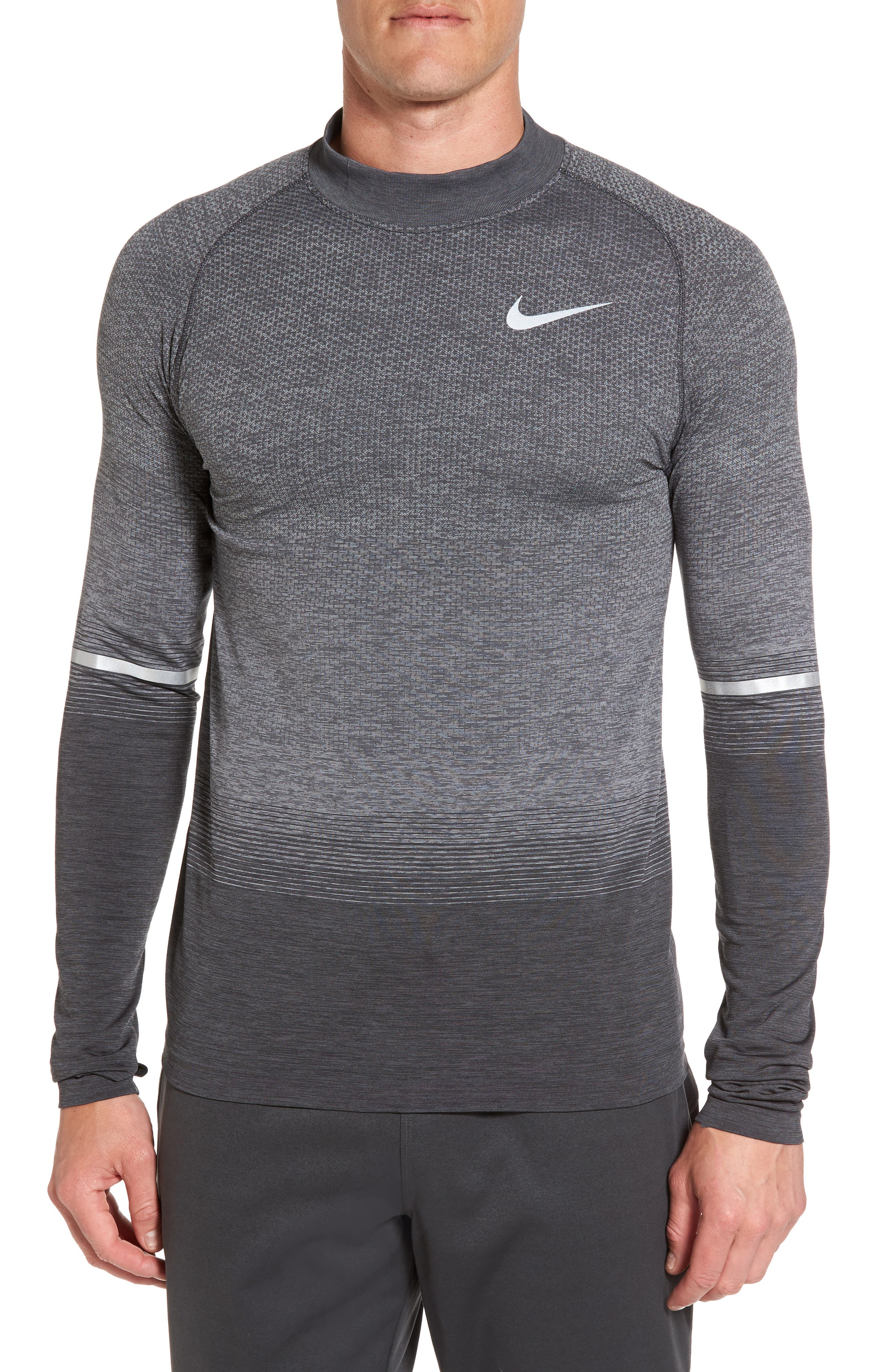 Dry Running Mock Neck Long Sleeve T-Shirt,                         Main,                         color, Anthracite/ Wolf Grey/ Grey