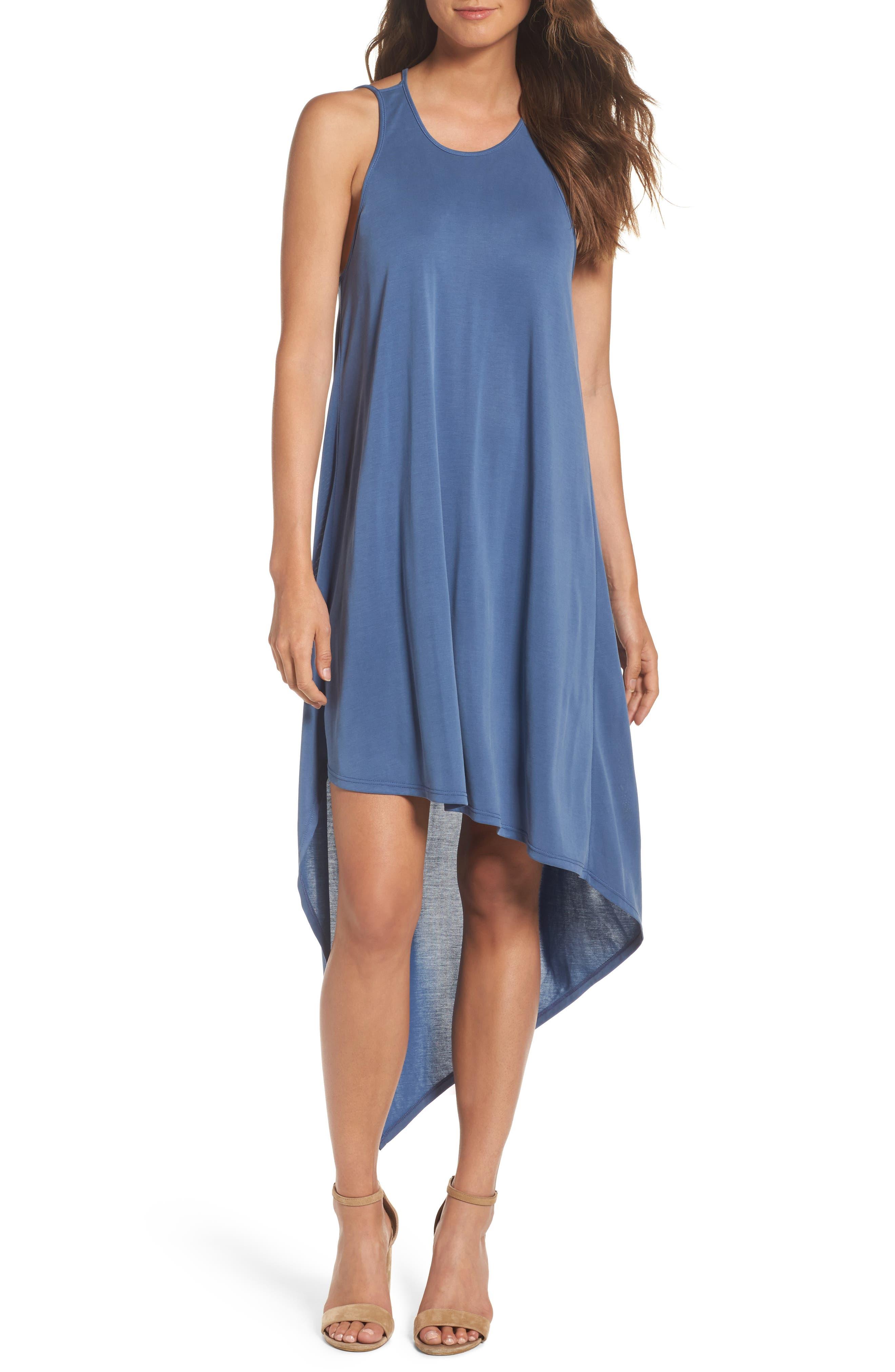 Asymmetrical Modal Blend Dress,                         Main,                         color, Vintage Blue