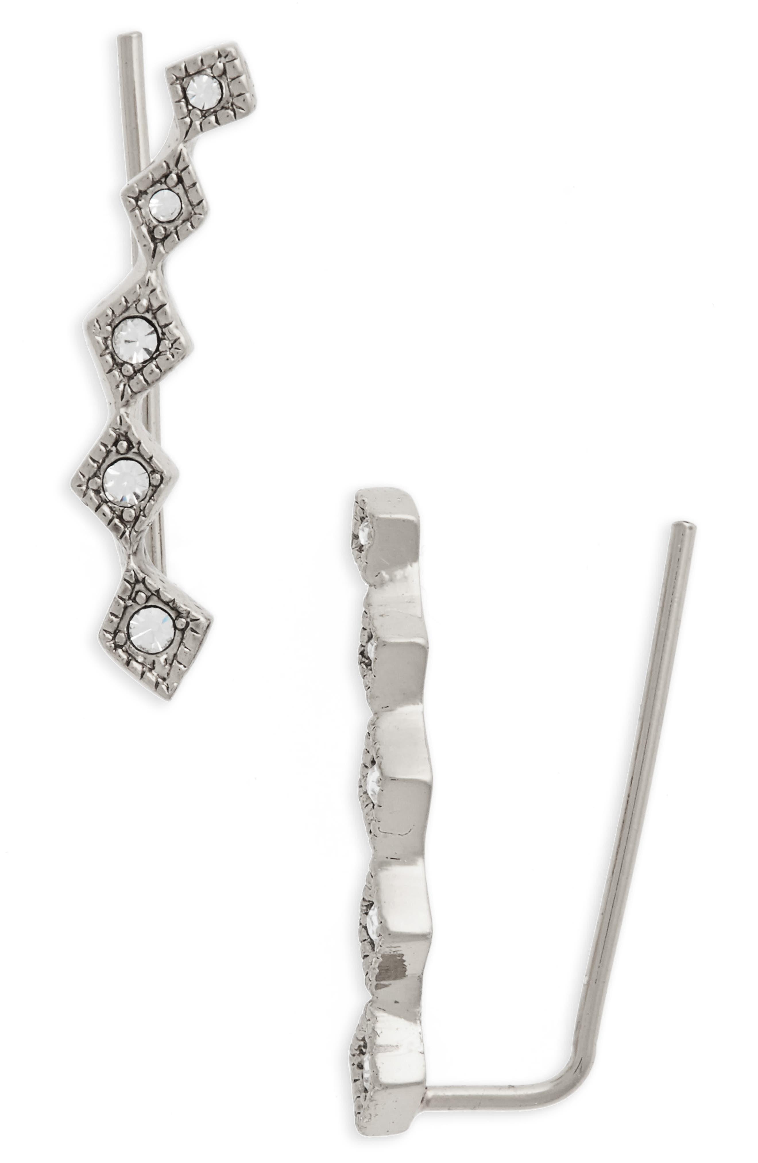 Crystal Ear Crawlers,                         Main,                         color, Silver