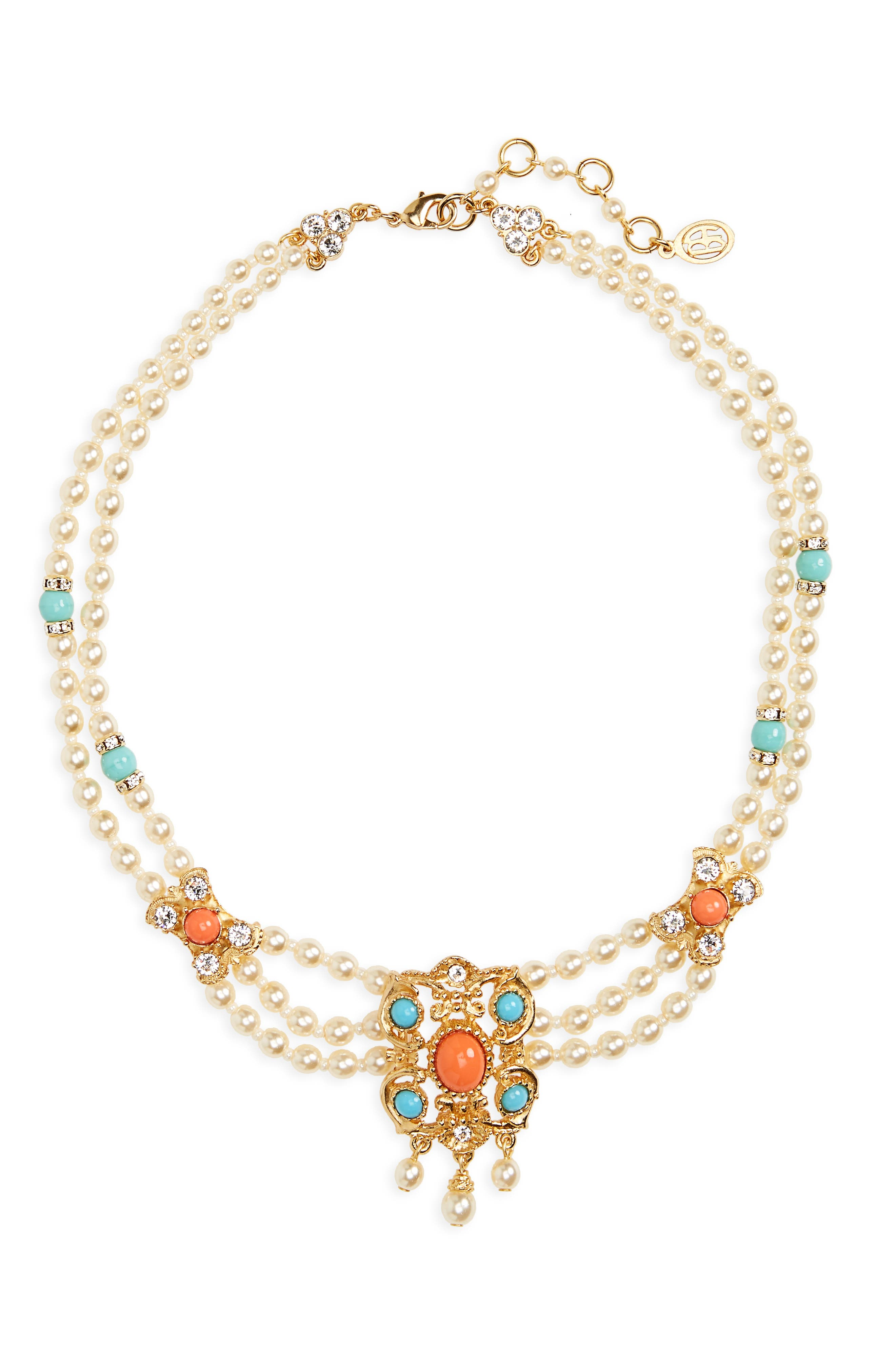 Adriatic Sea Imitation Pearl Drop Necklace,                         Main,                         color, Turquoise / Coral / Pearl