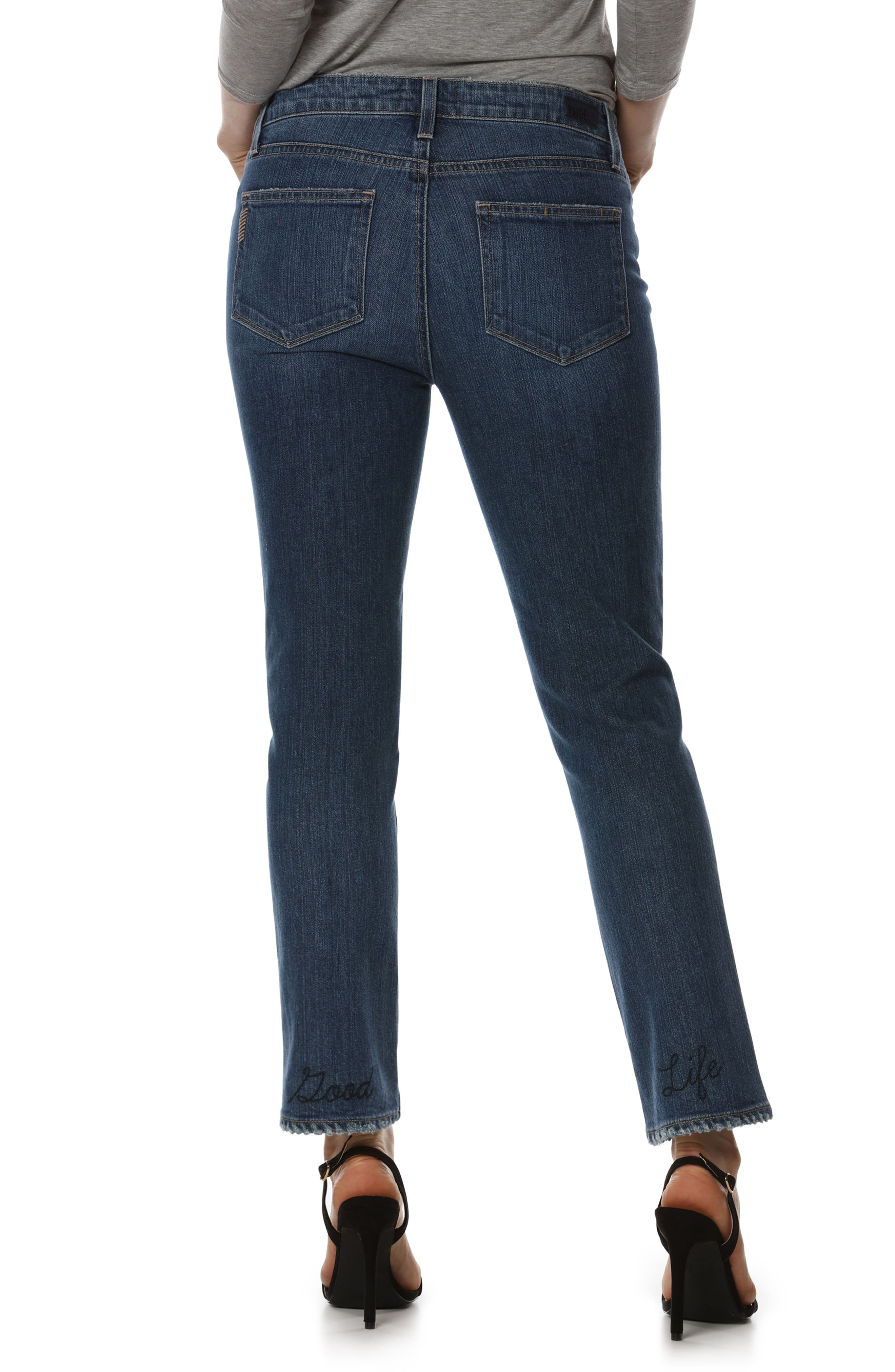 Jacqueline High Waist Ankle Straight Leg Jeans,                             Alternate thumbnail 3, color,                             Good Life Embroidery