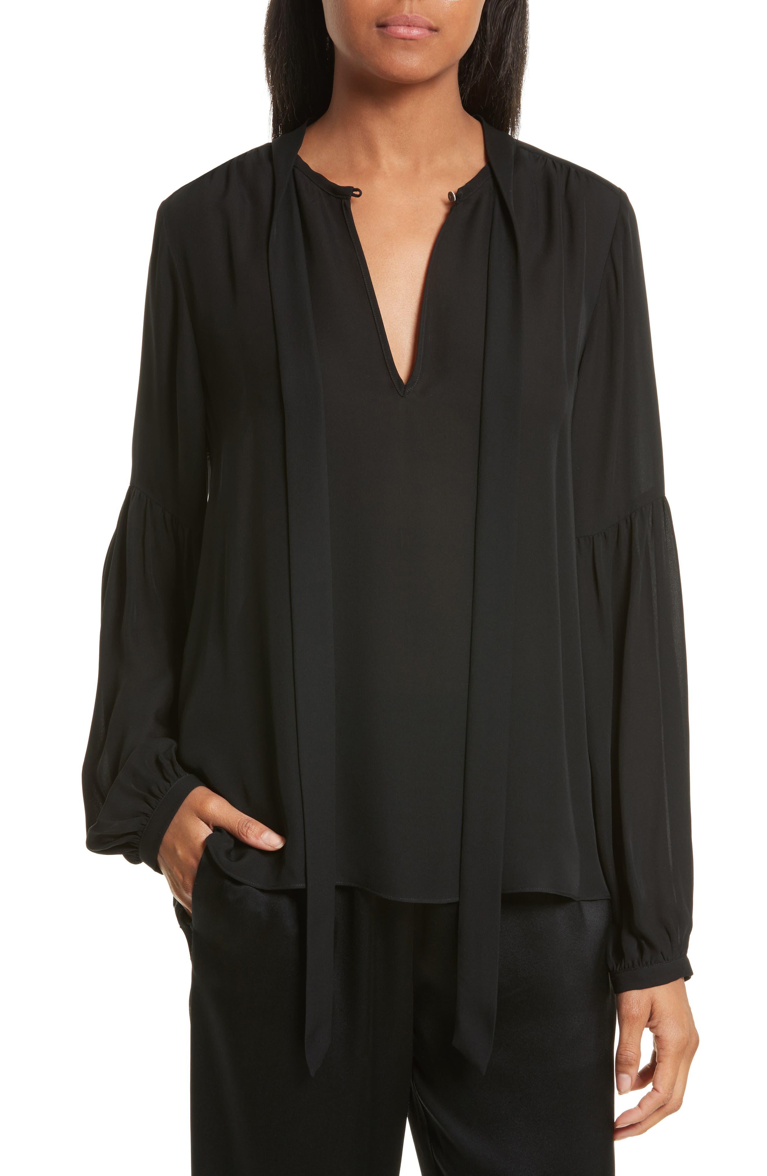 Abbeline Tie Neck Silk Georgette Top,                         Main,                         color, Black