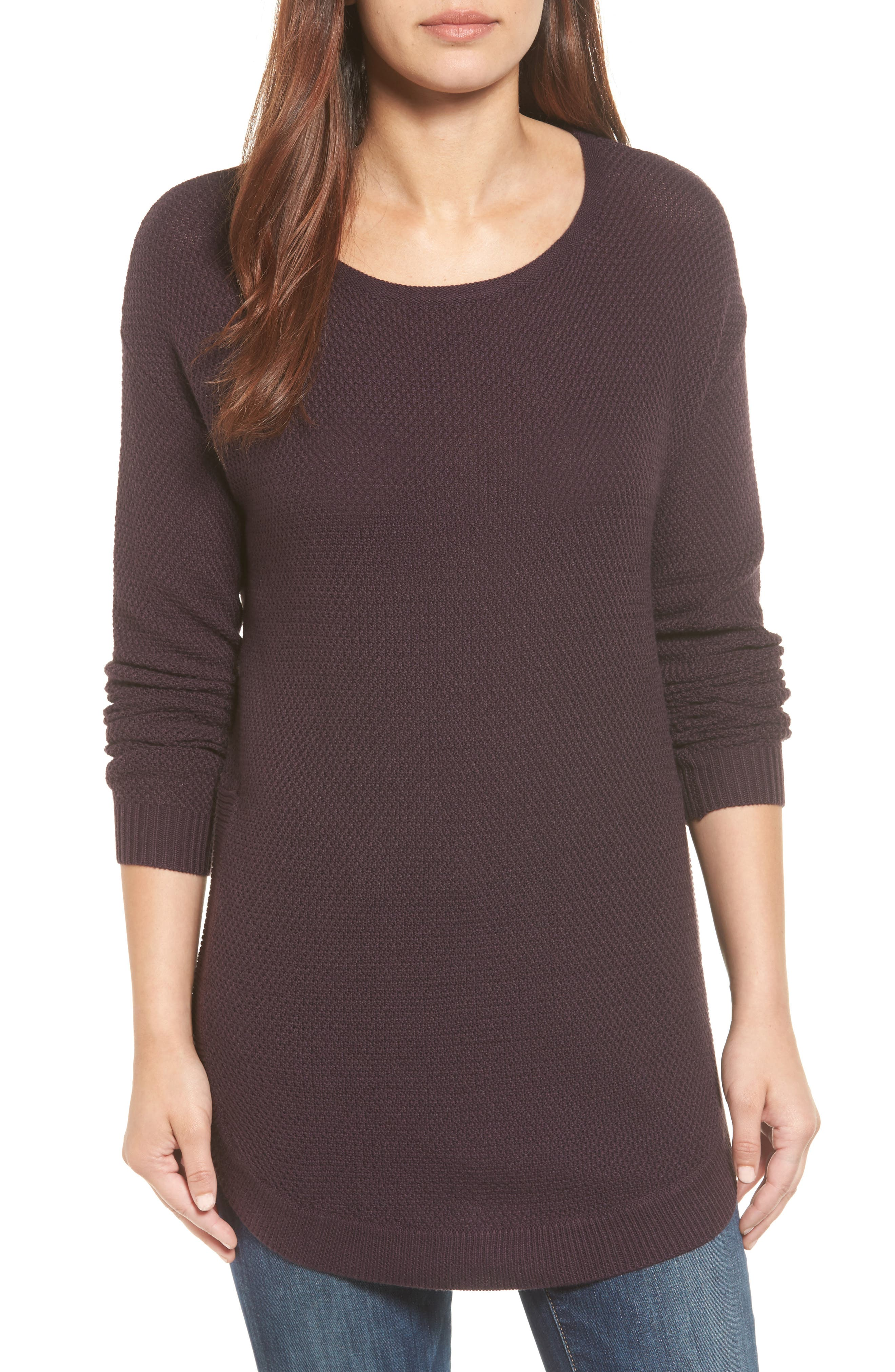 Caslon® Texture Knit Tunic (Regular & Petite)