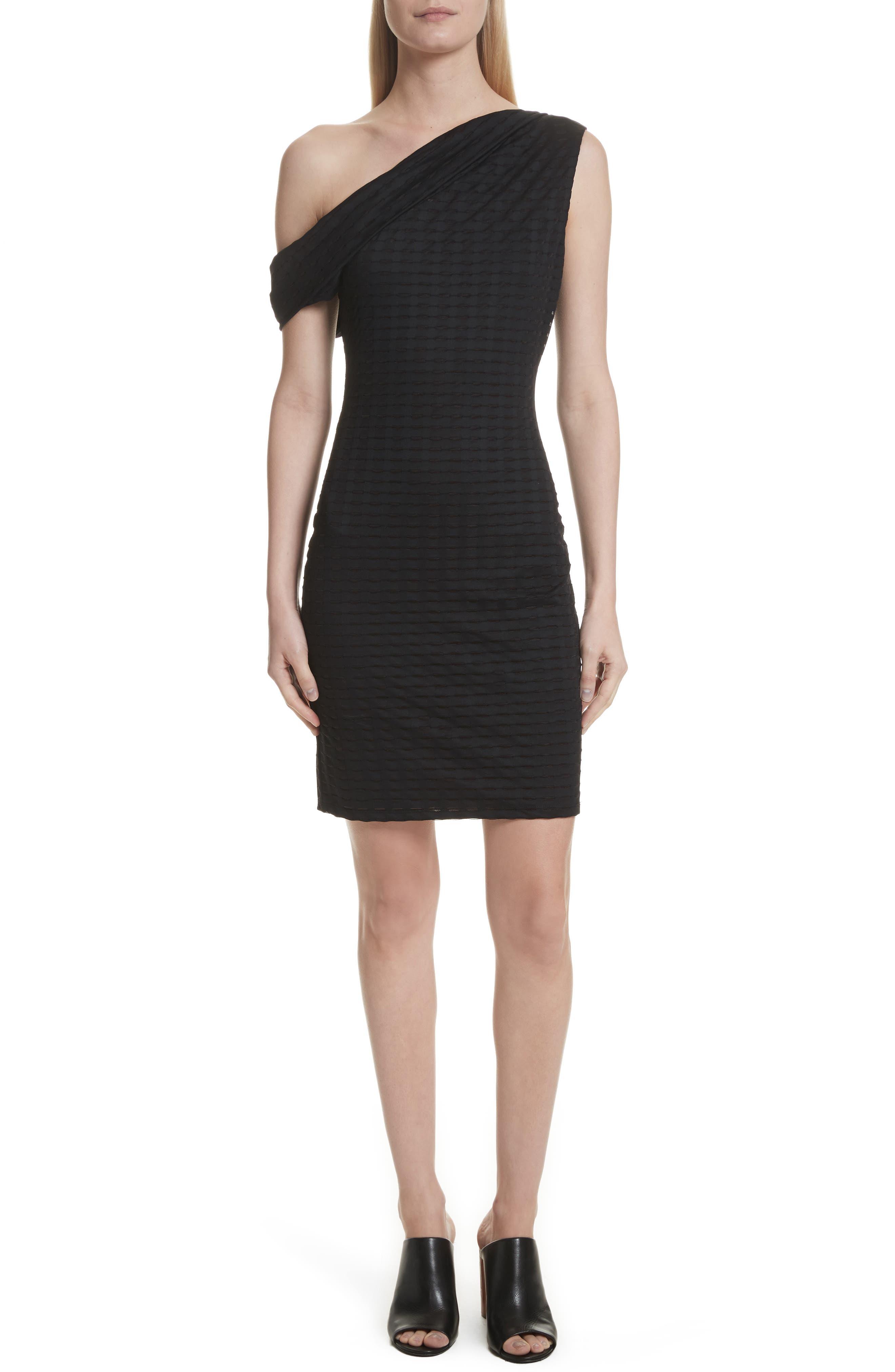 One-Shoulder Minidress,                         Main,                         color, Black