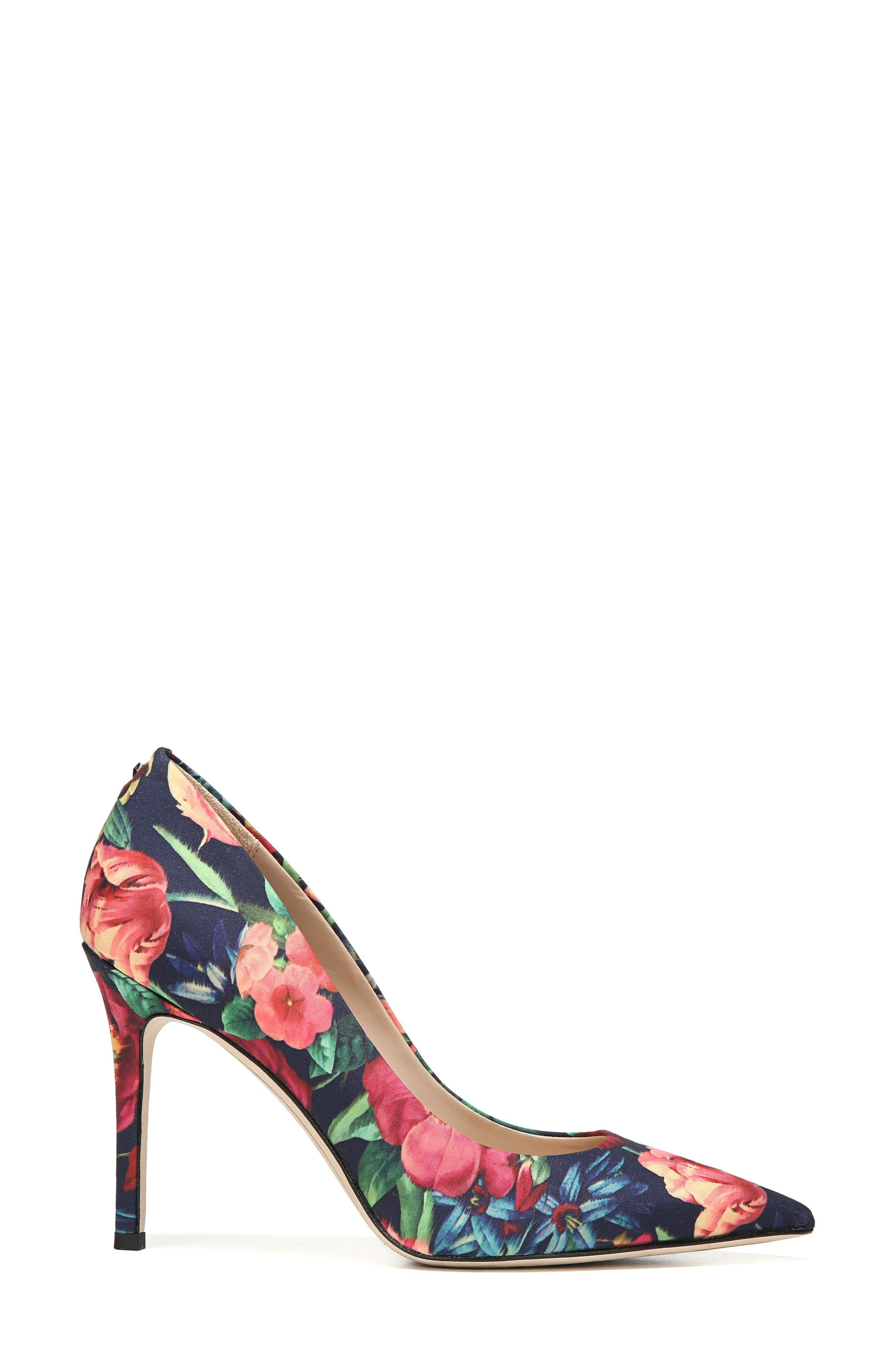 Hazel Pump,                             Alternate thumbnail 3, color,                             Navy Floral Fabric