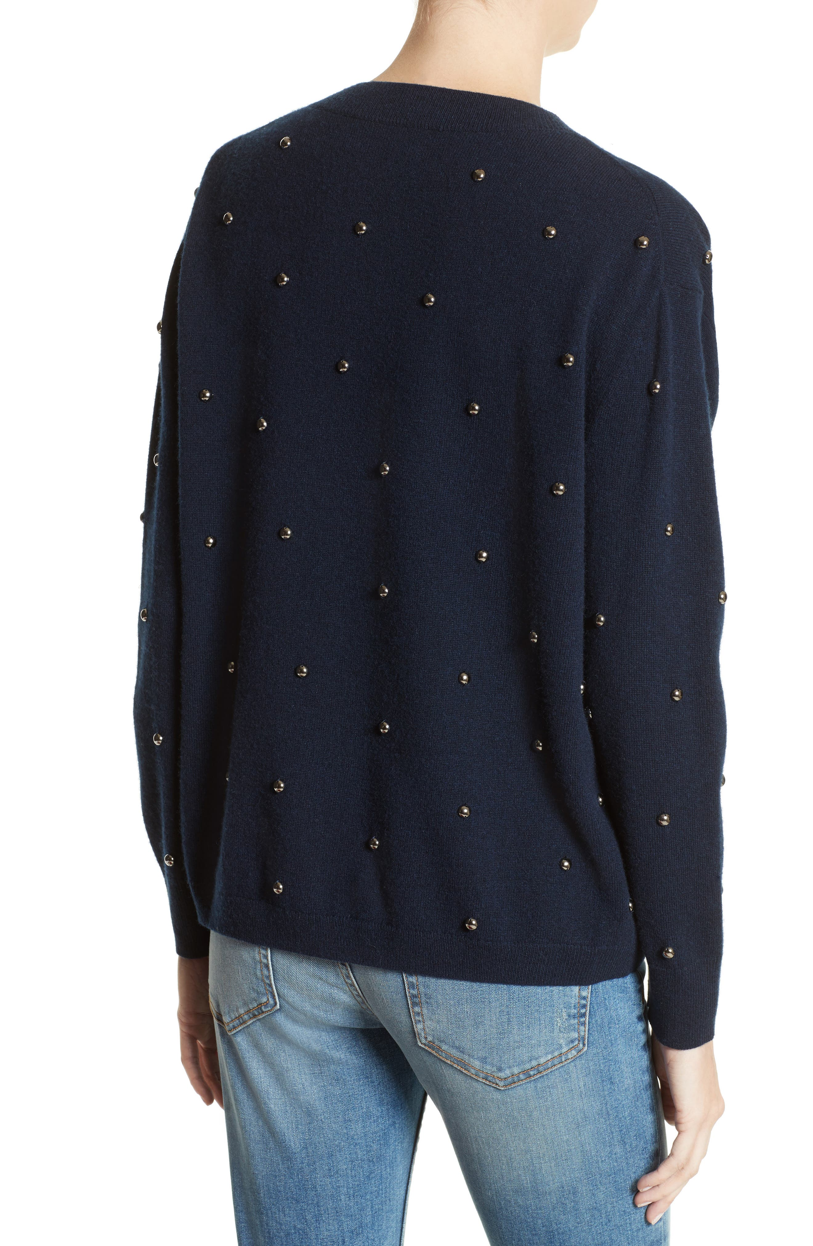 Embellished Wool & Cashmere Sweater,                             Alternate thumbnail 2, color,                             Navy