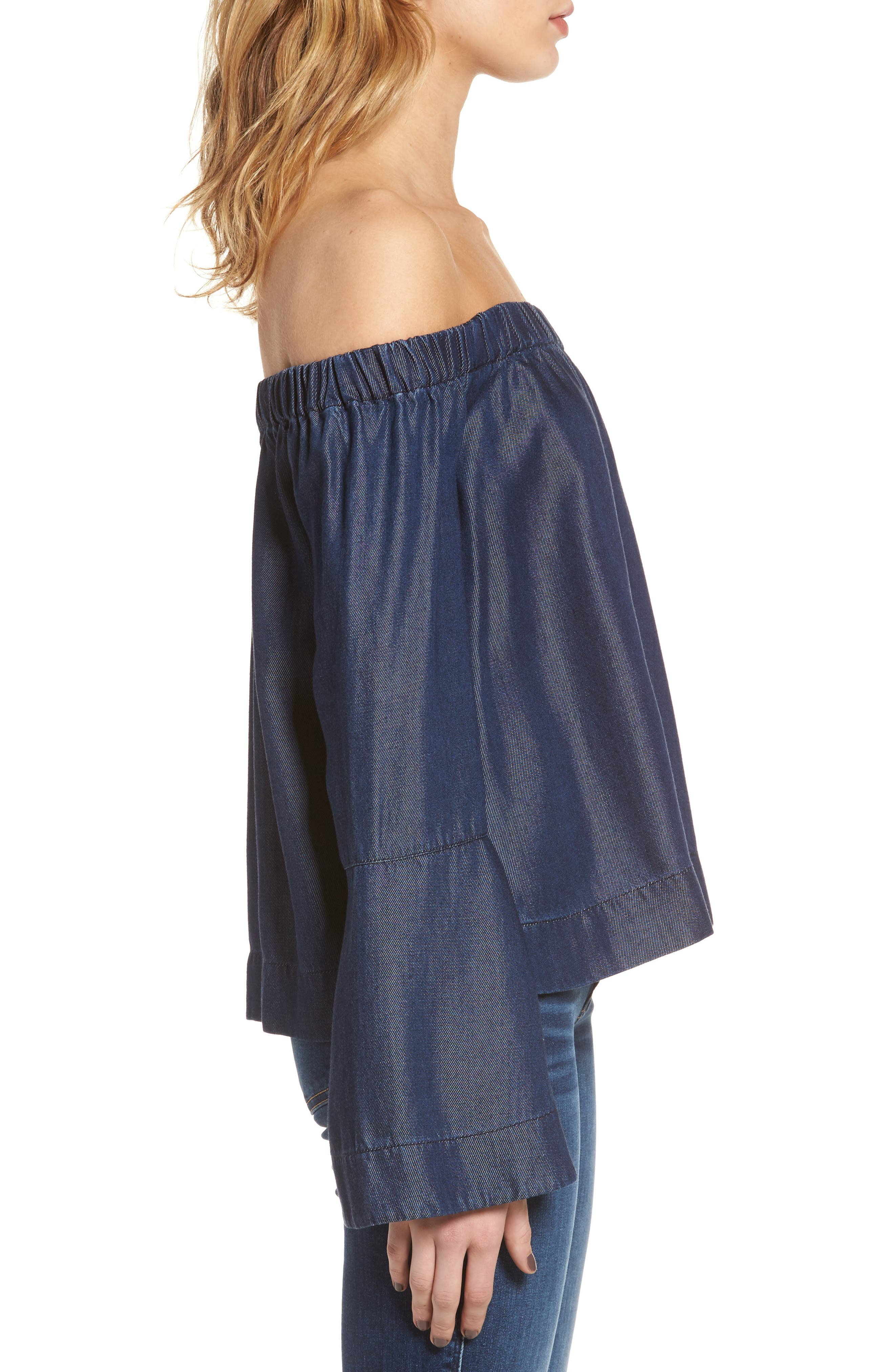 Alternate Image 3  - 7 For All Mankind® Off the Shoulder Denim Top