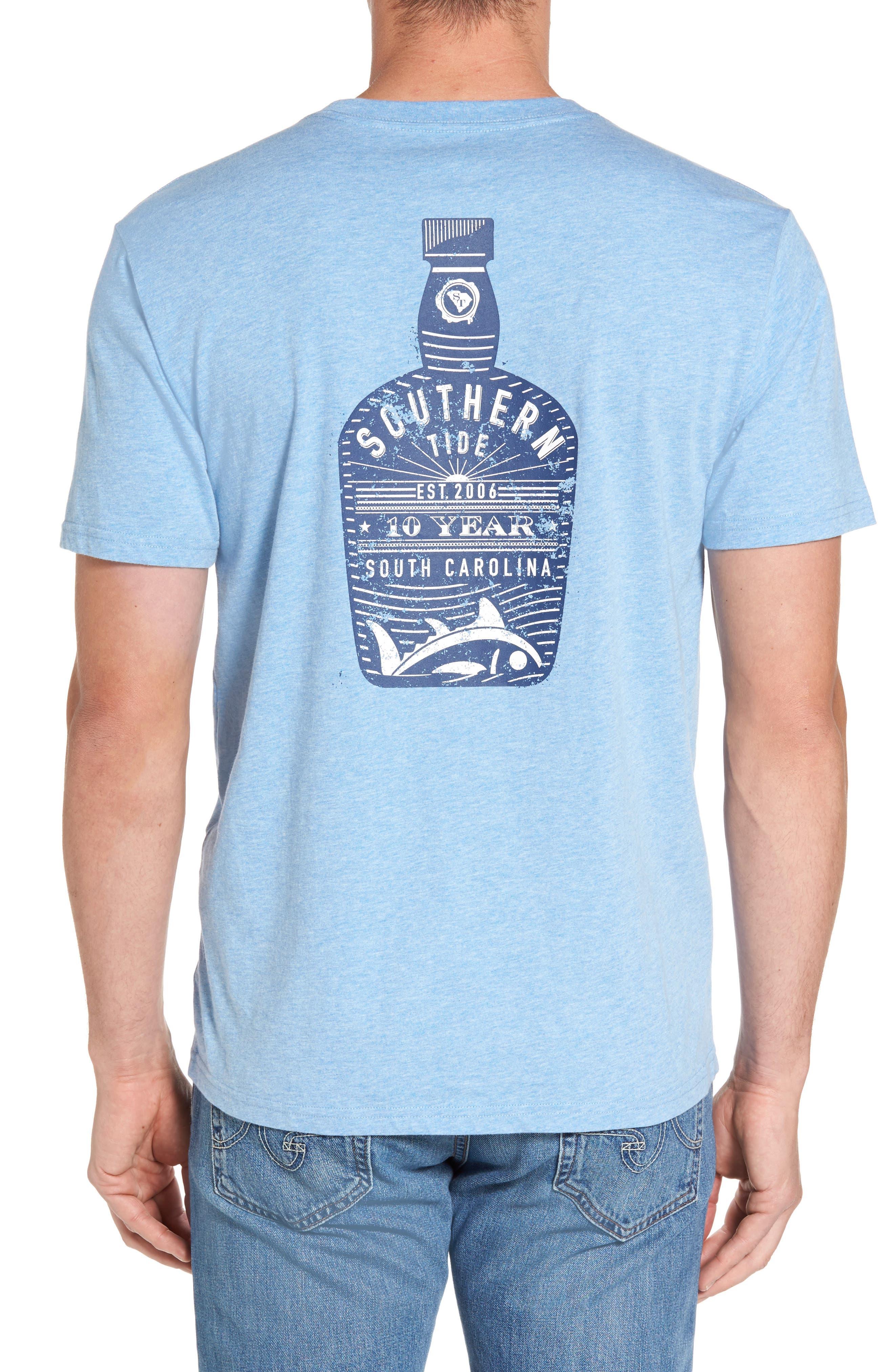 Bourbon Bottle Classic Fit Graphic T-Shirt,                         Main,                         color, Ocean Channel