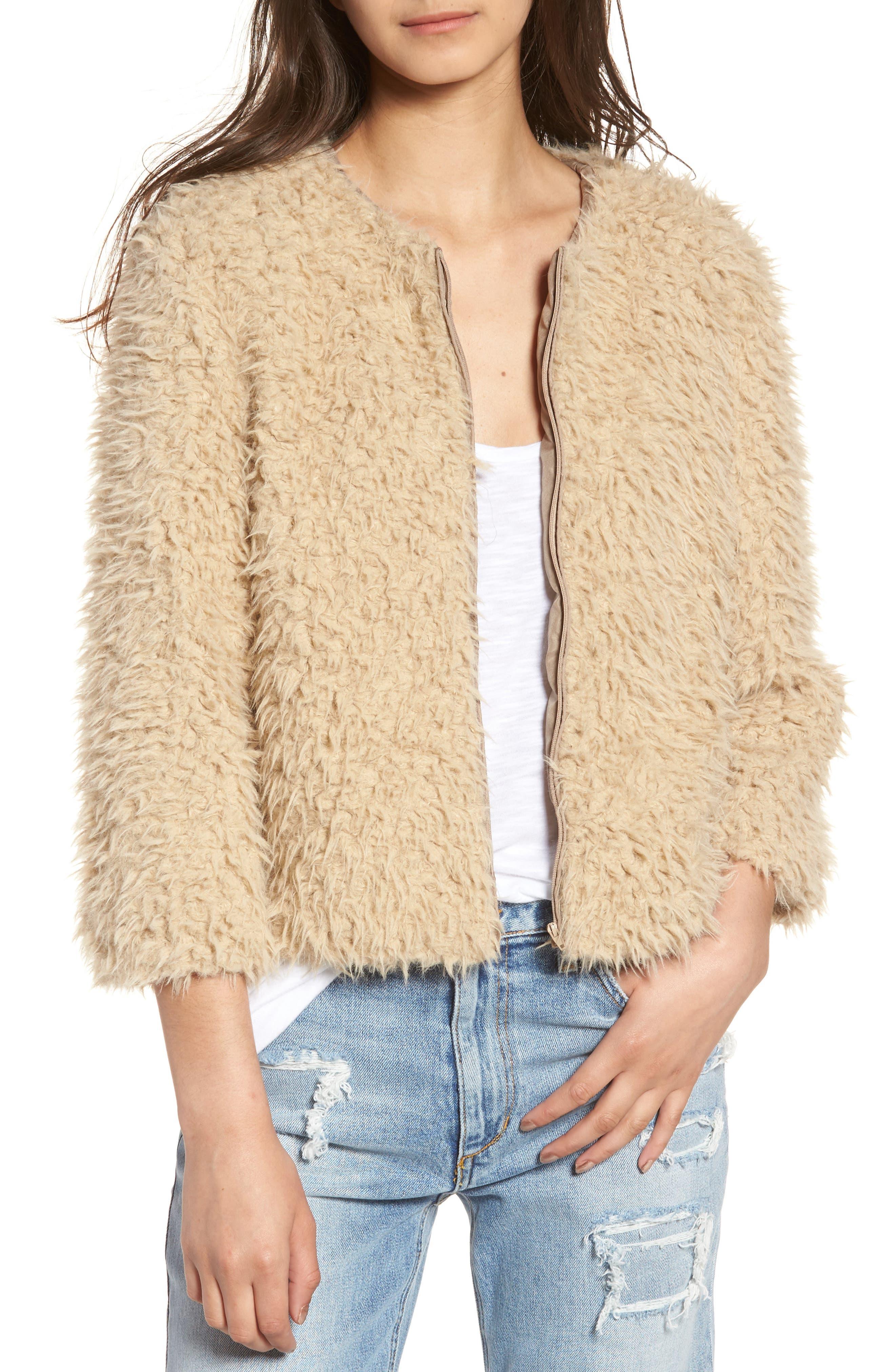 Macy Faux Fur Jacket,                             Main thumbnail 1, color,                             Light Camel