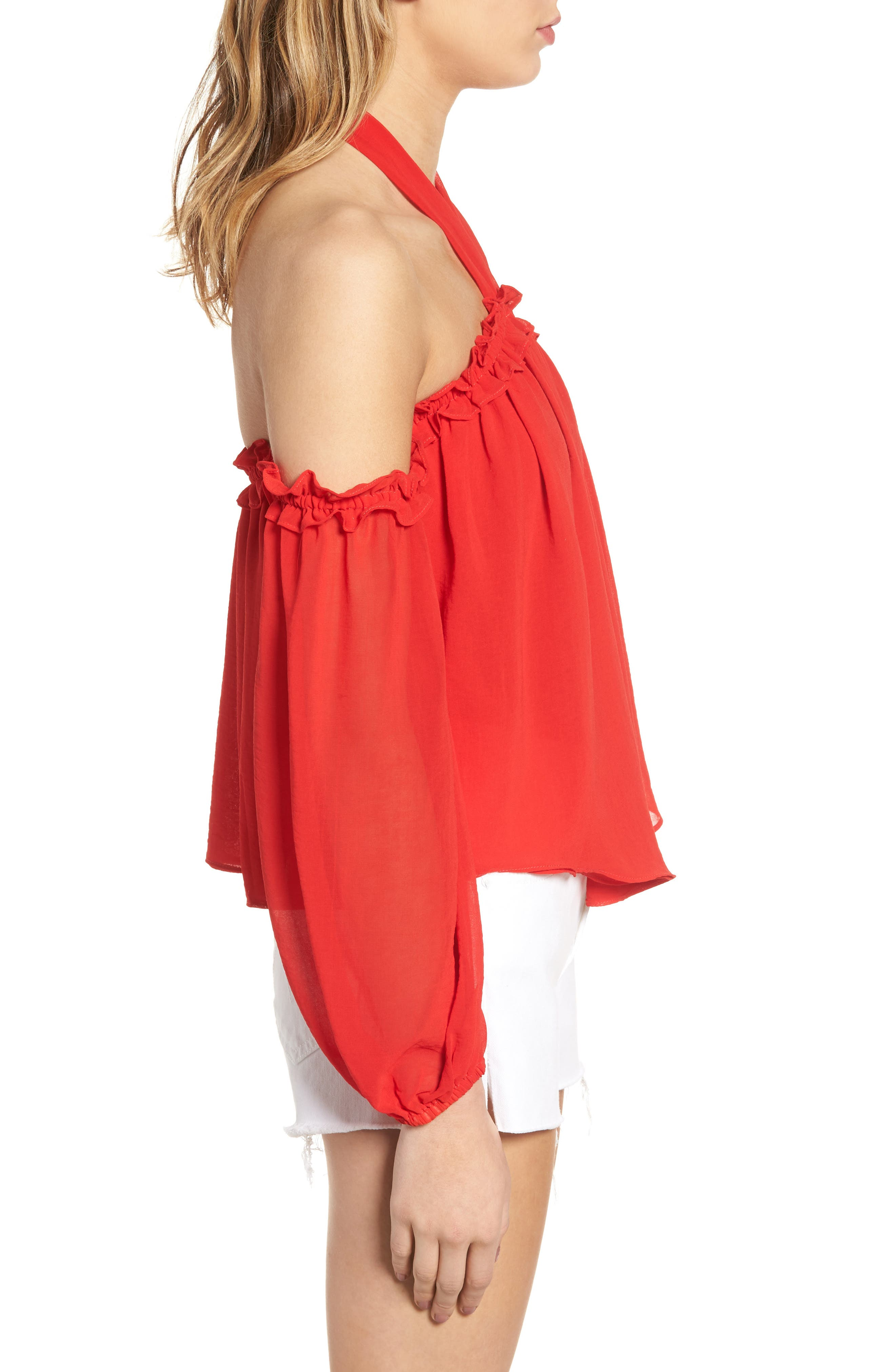 Lively Off the Shoulder Top,                             Alternate thumbnail 4, color,                             Red