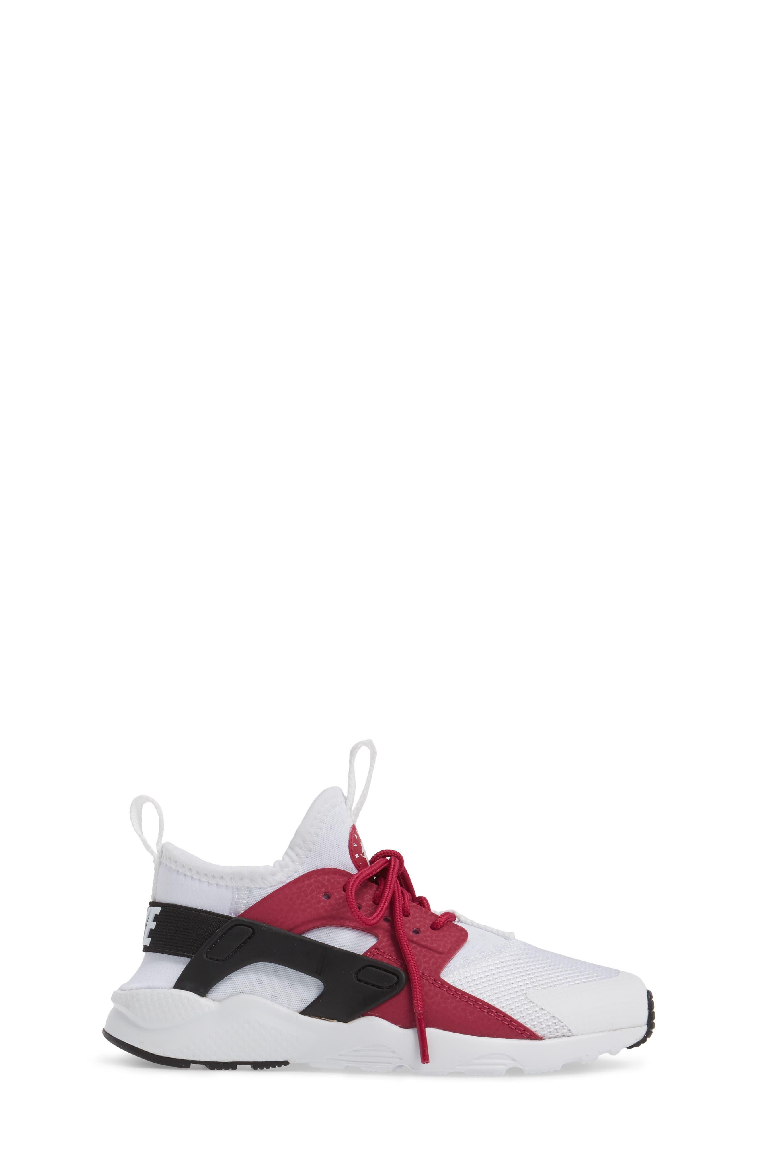 Air Huarache Run Ultra Sneaker,                             Alternate thumbnail 3, color,                             White/ Sport Fuchsia/ Black