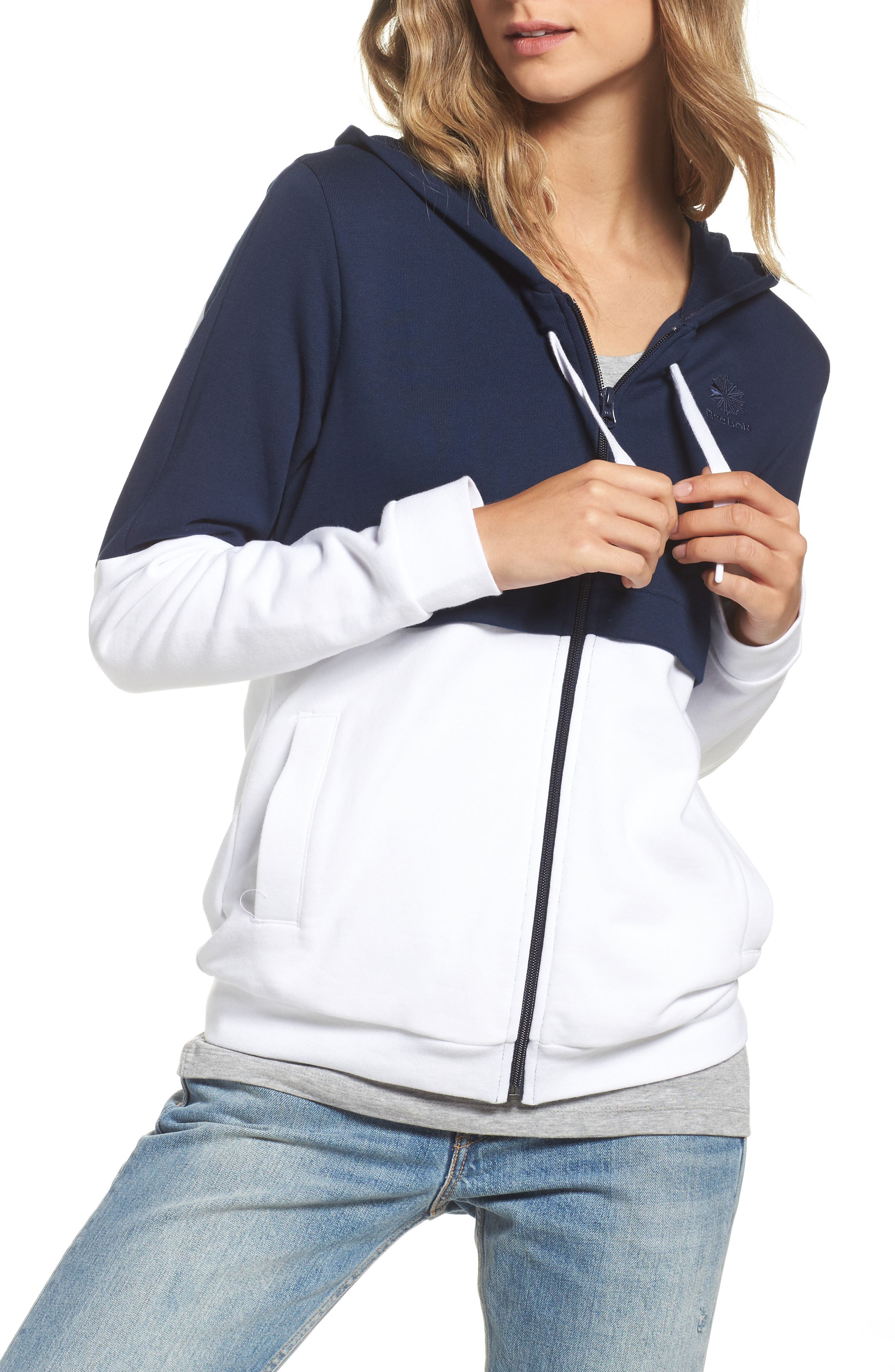 Colorblock French Terry Zip Hoodie,                         Main,                         color, Collegiate Navy