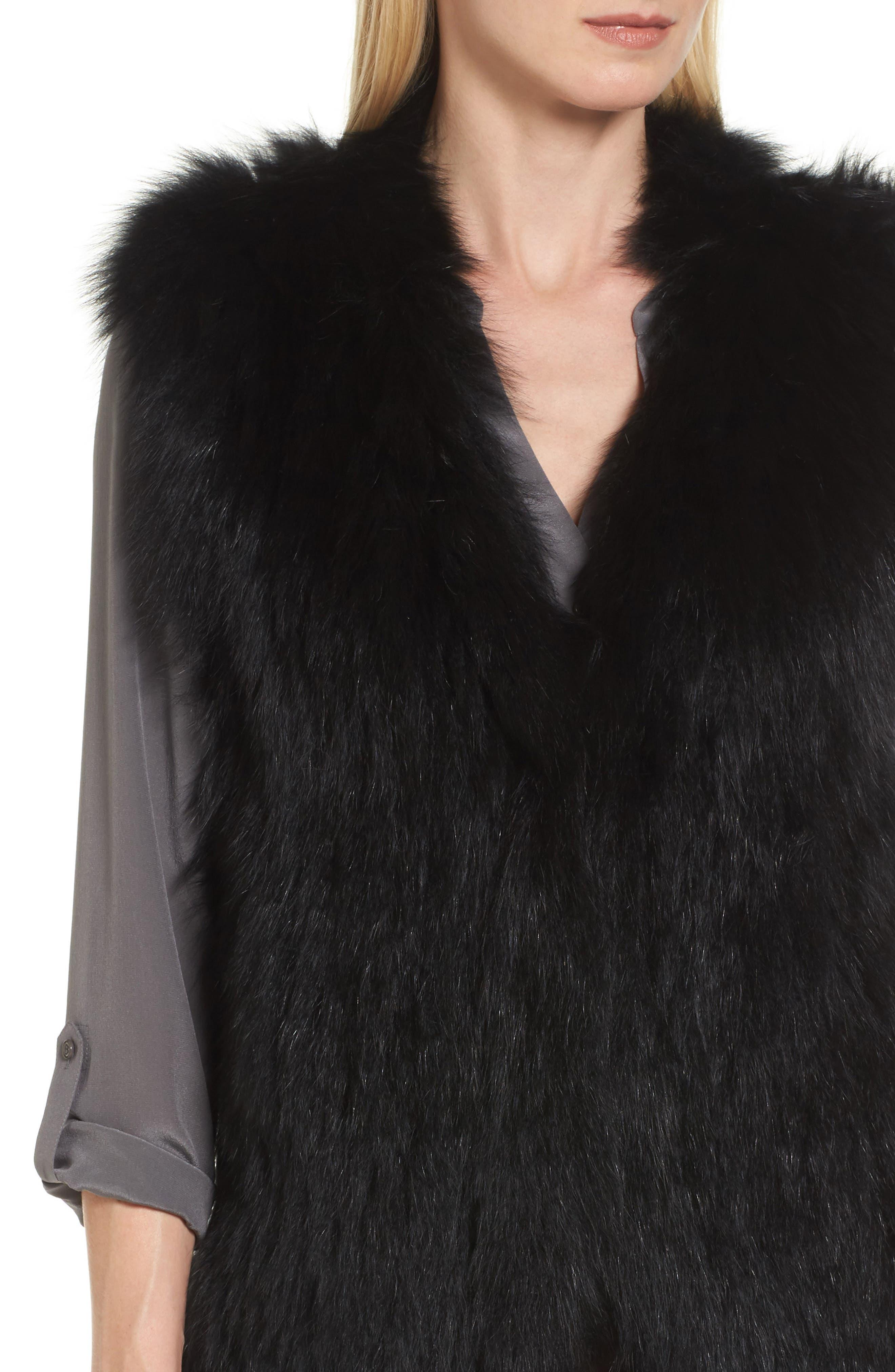Genuine Fox Fur Vest,                             Alternate thumbnail 4, color,                             Black