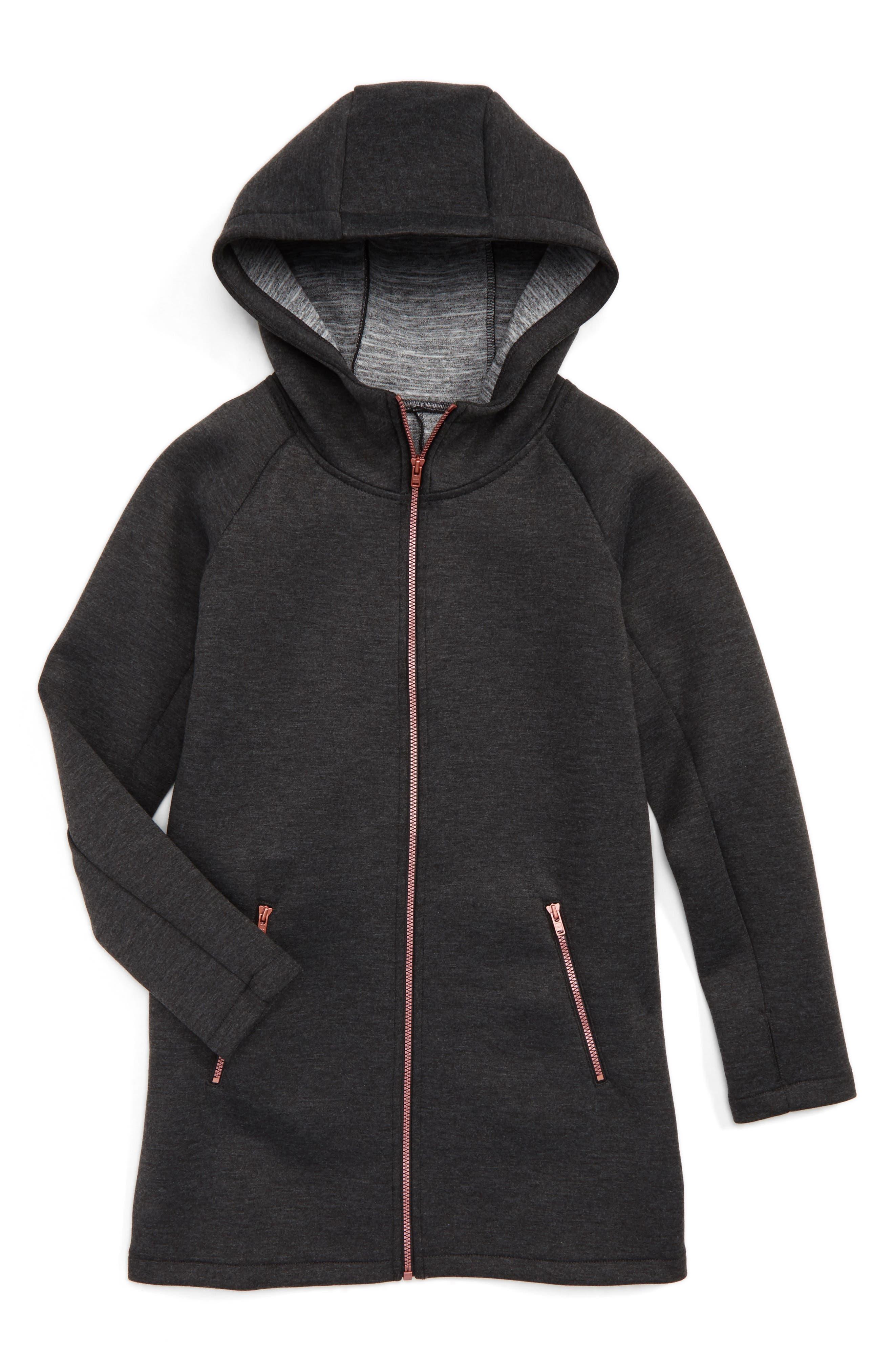 Zella Girl Spacer Long Hooded Jacket (Little Girls & Big Girls)