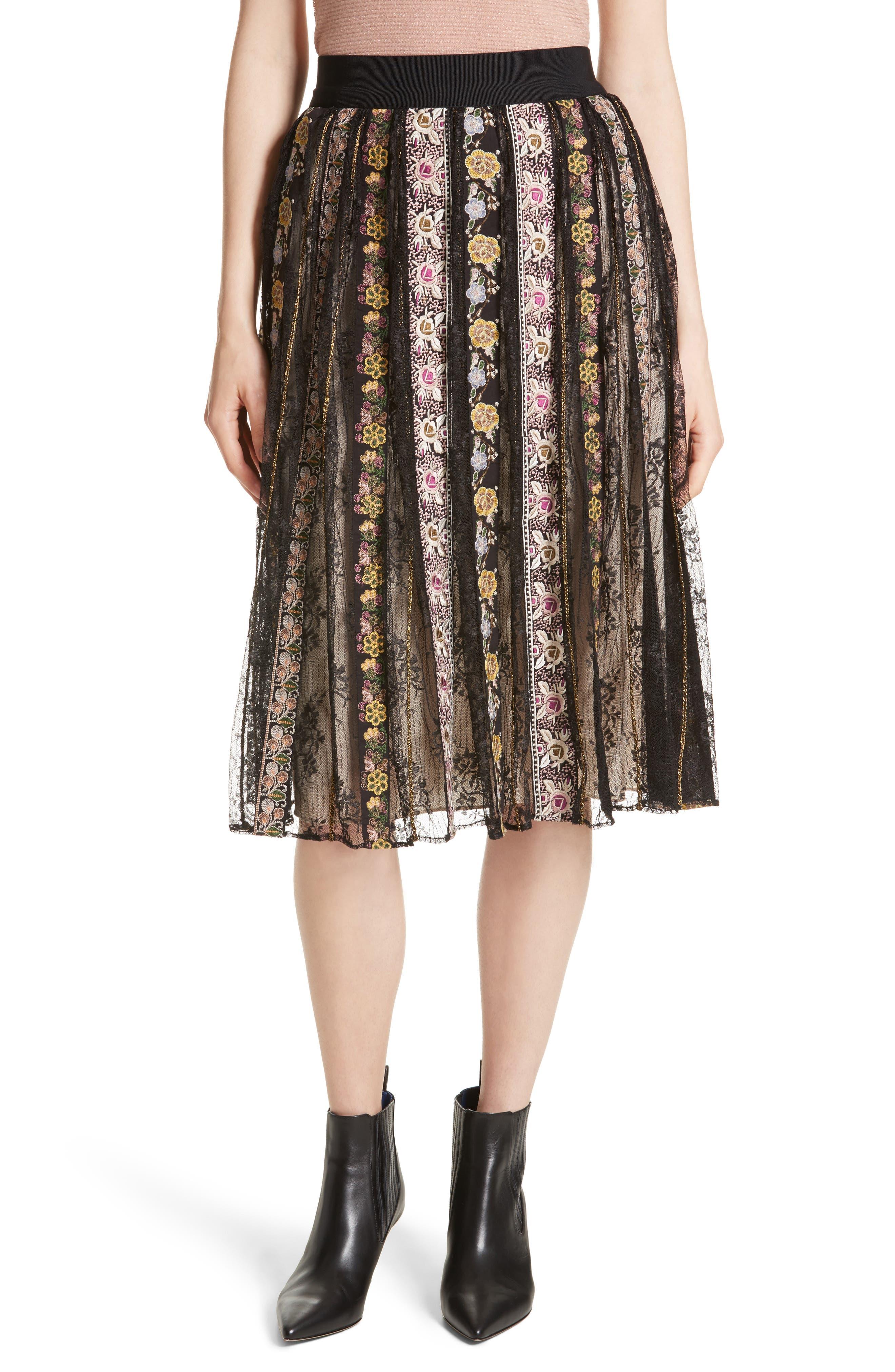 Birdie Flower Embroidered Skirt,                         Main,                         color, Black/ Multi