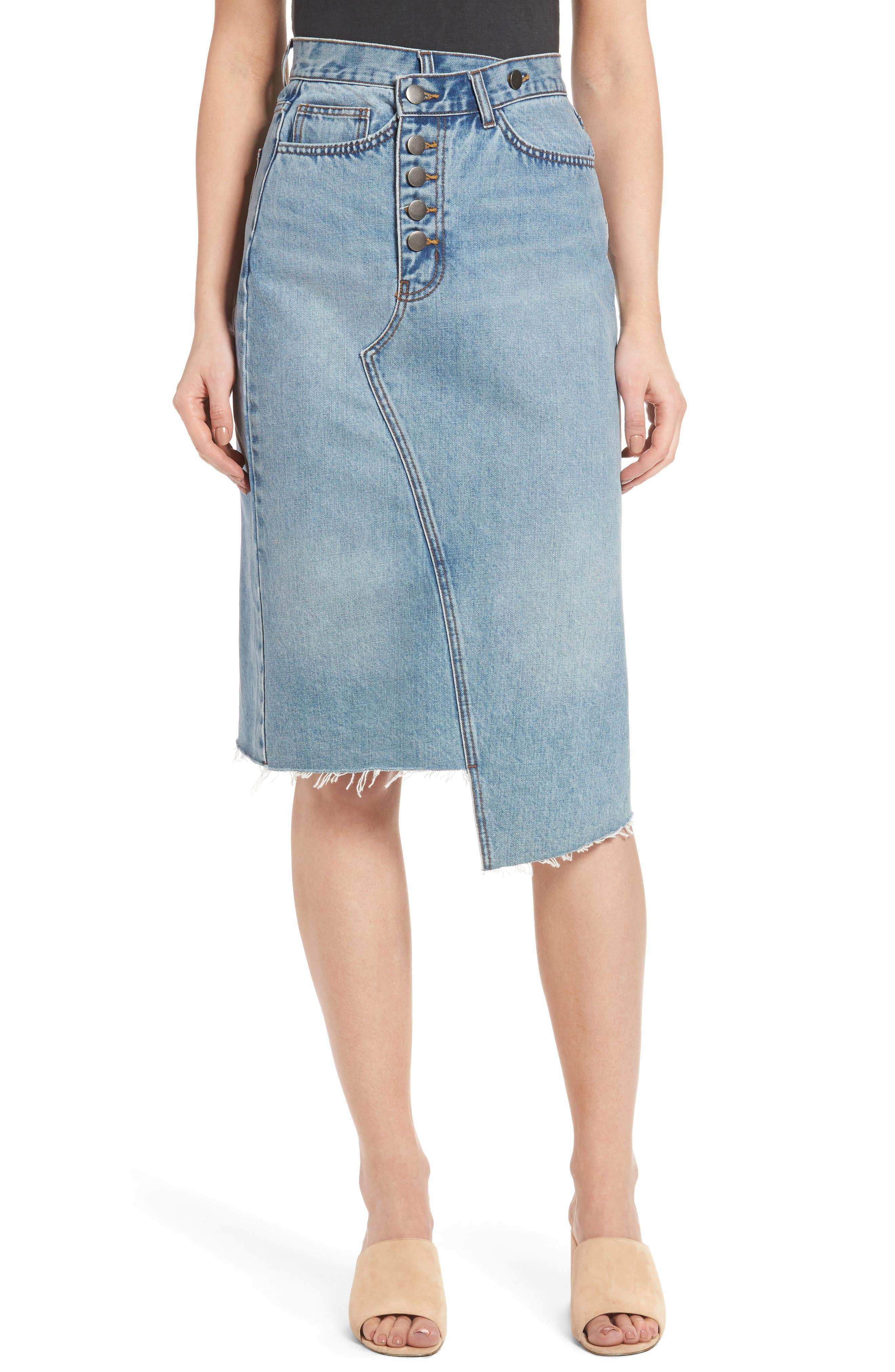 Asymmetrical Denim Pencil Skirt,                             Main thumbnail 1, color,                             Light Blue