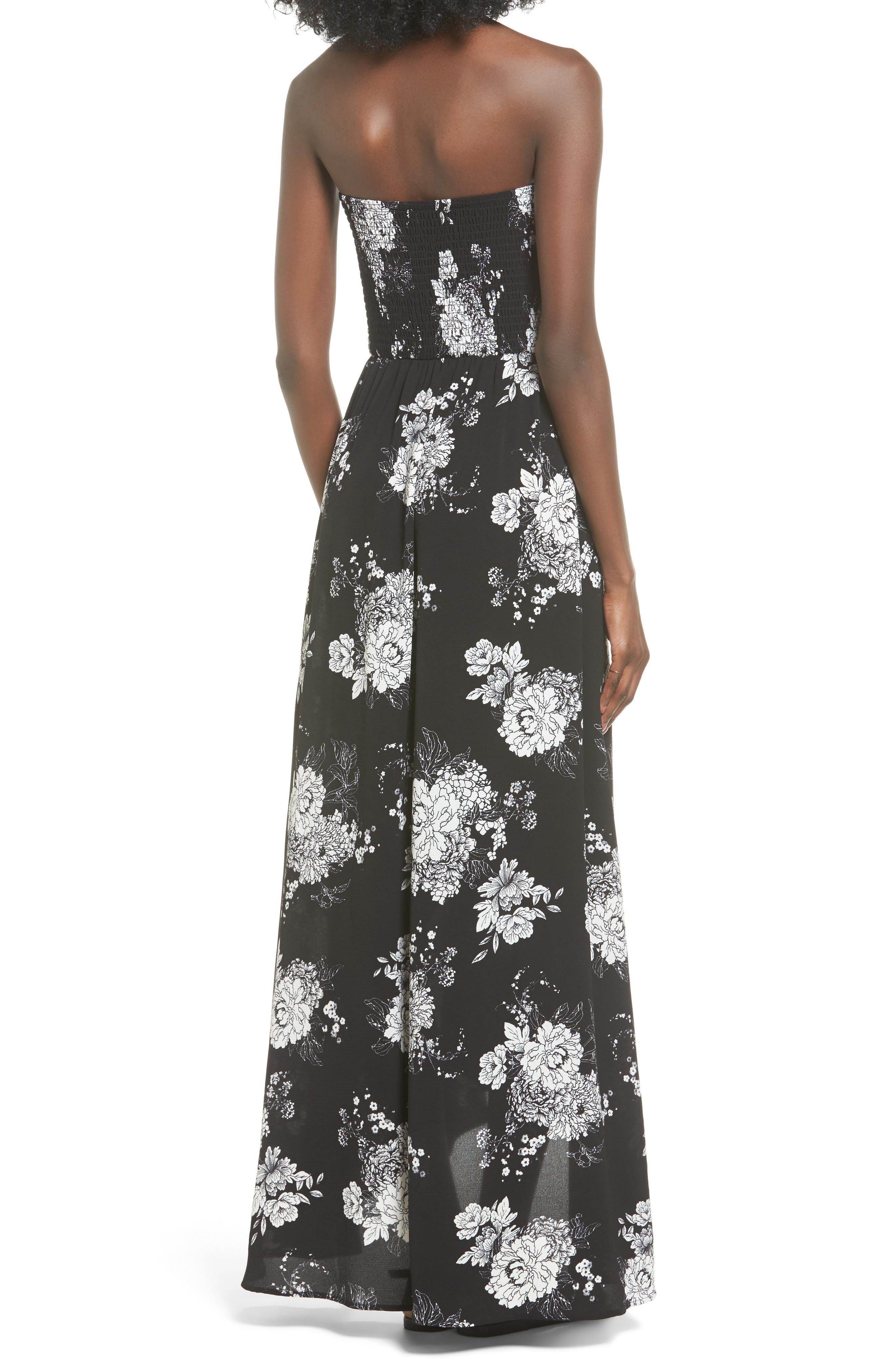 Smocked Strapless Maxi Dress,                             Alternate thumbnail 2, color,                             Black/ Ivory Floral