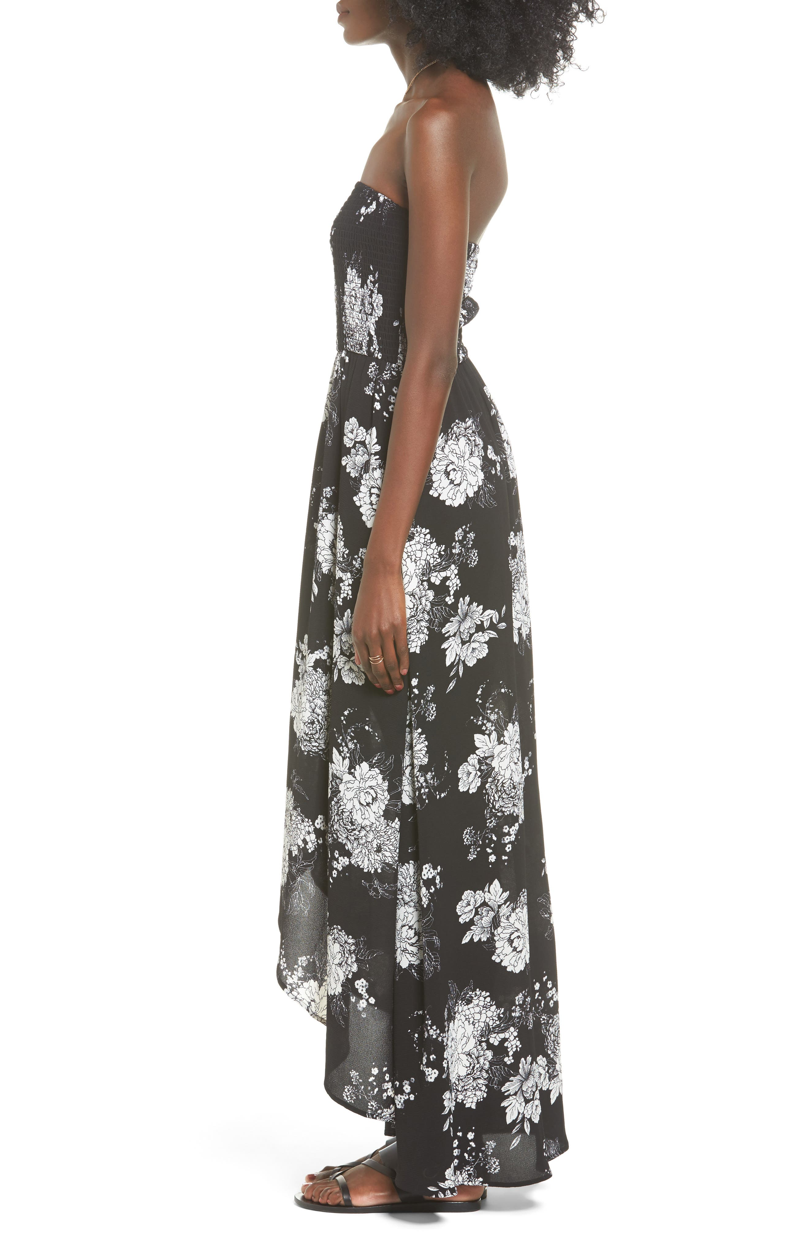Smocked Strapless Maxi Dress,                             Alternate thumbnail 3, color,                             Black/ Ivory Floral