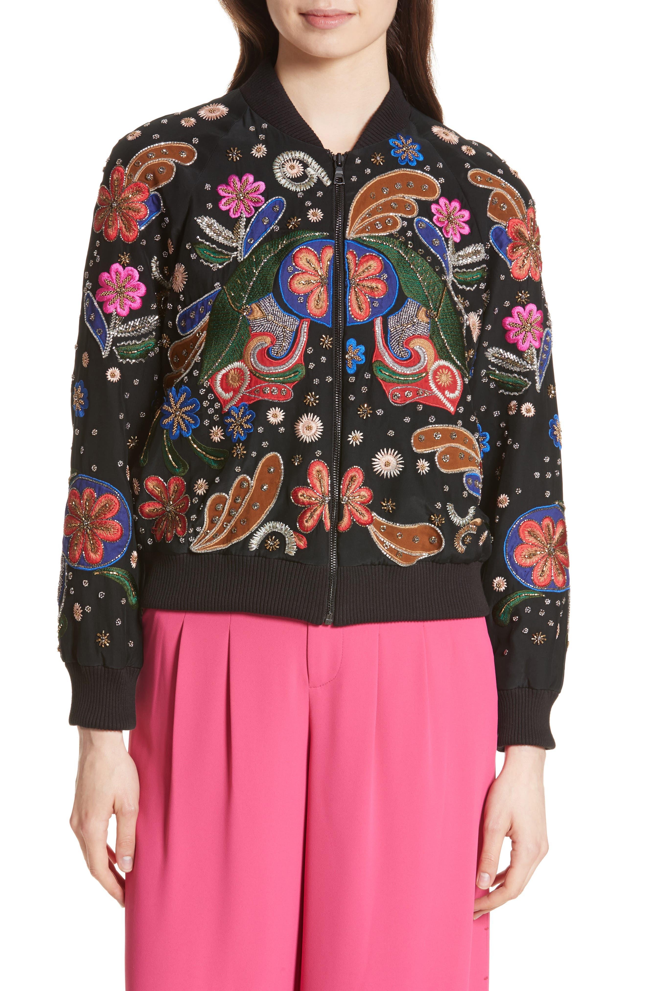 Main Image - Alice + Olivia Felisa Embellished Silk Bomber Jacket