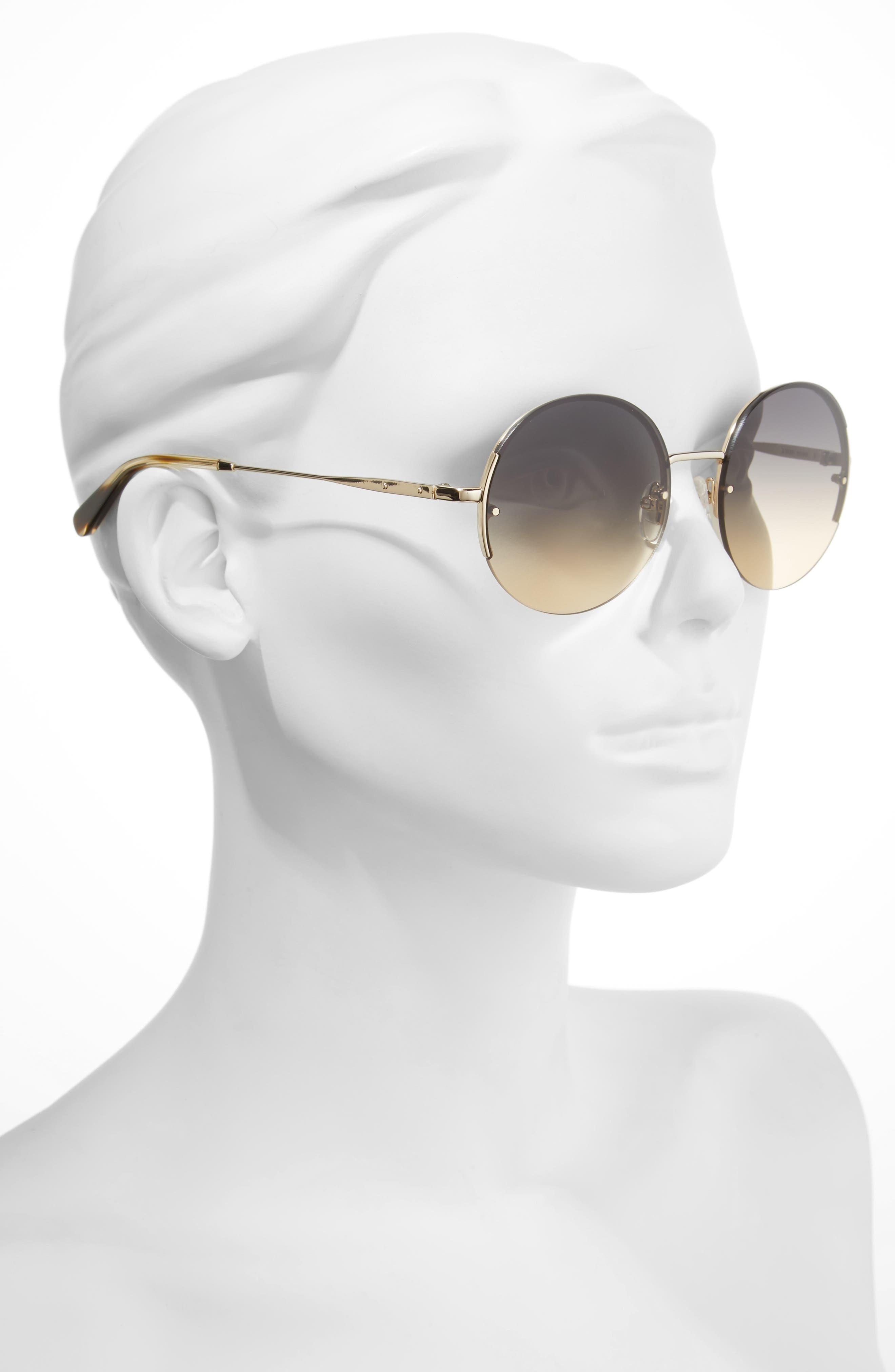 55mm Round Sunglasses,                             Alternate thumbnail 2, color,                             Endura Gold